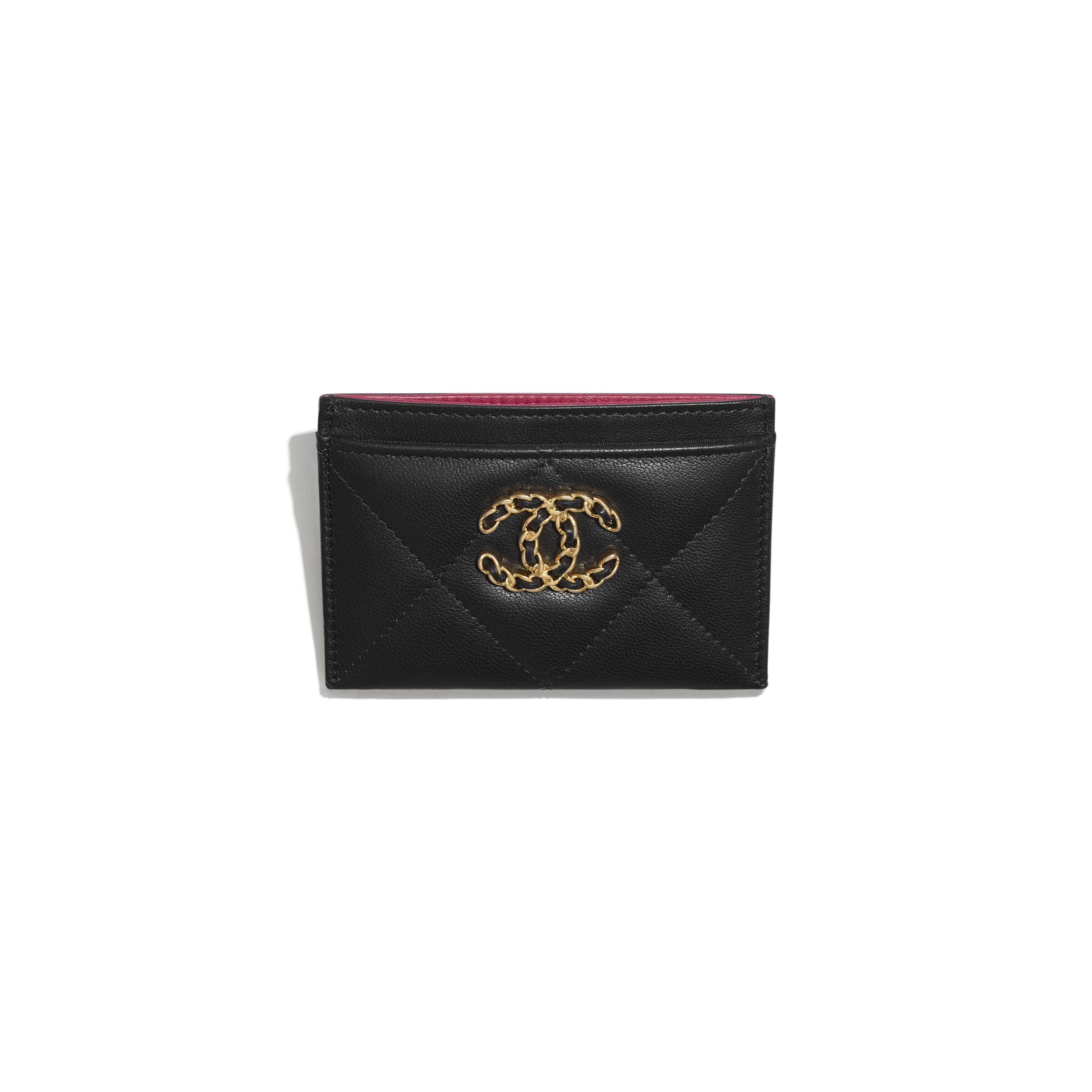 CHANEL 19 Card Holder - Black - Shiny Goatskin, Gold-Tone, Silver-Tone & Ruthenium-Finish Metal - CHANEL - Other view - see standard sized version