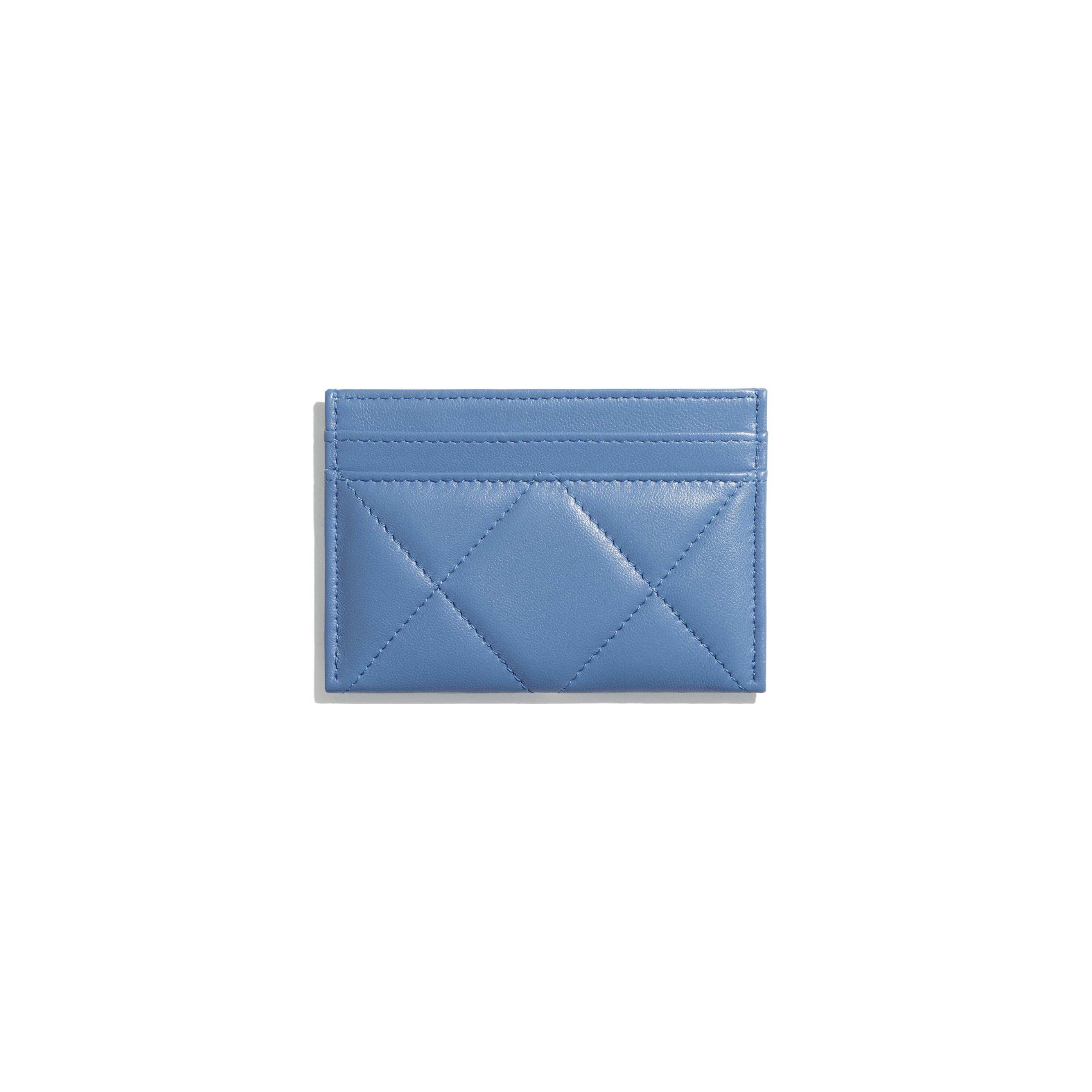 CHANEL 19 Card Holder - Blue - Lambskin, Gold-Tone, Silver-Tone & Ruthenium-Finish Metal - CHANEL - Alternative view - see standard sized version
