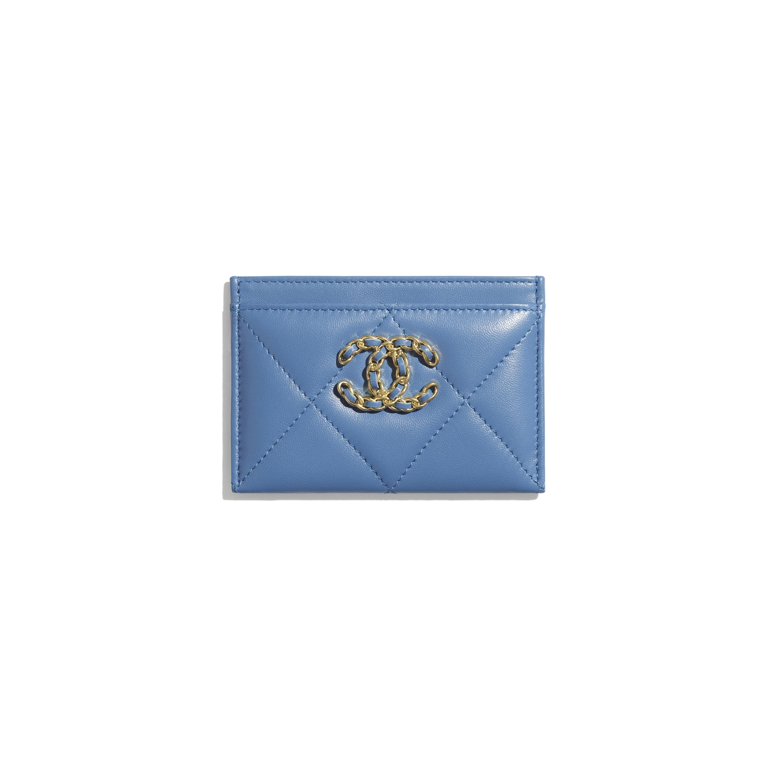 CHANEL 19 Card Holder - Blue - Lambskin, Gold-Tone, Silver-Tone & Ruthenium-Finish Metal - CHANEL - Default view - see standard sized version