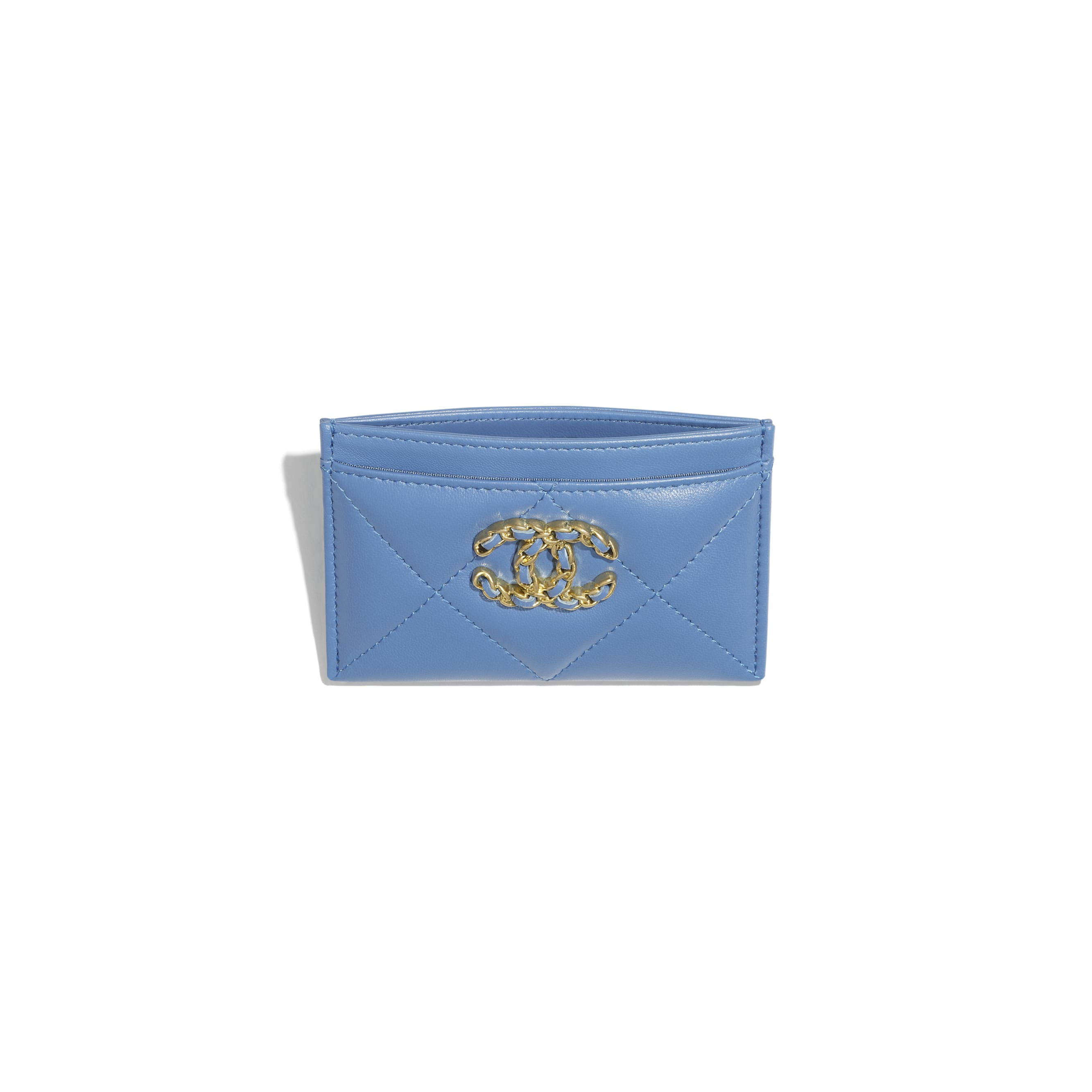 CHANEL 19 Card Holder - Blue - Lambskin, Gold-Tone, Silver-Tone & Ruthenium-Finish Metal - CHANEL - Other view - see standard sized version