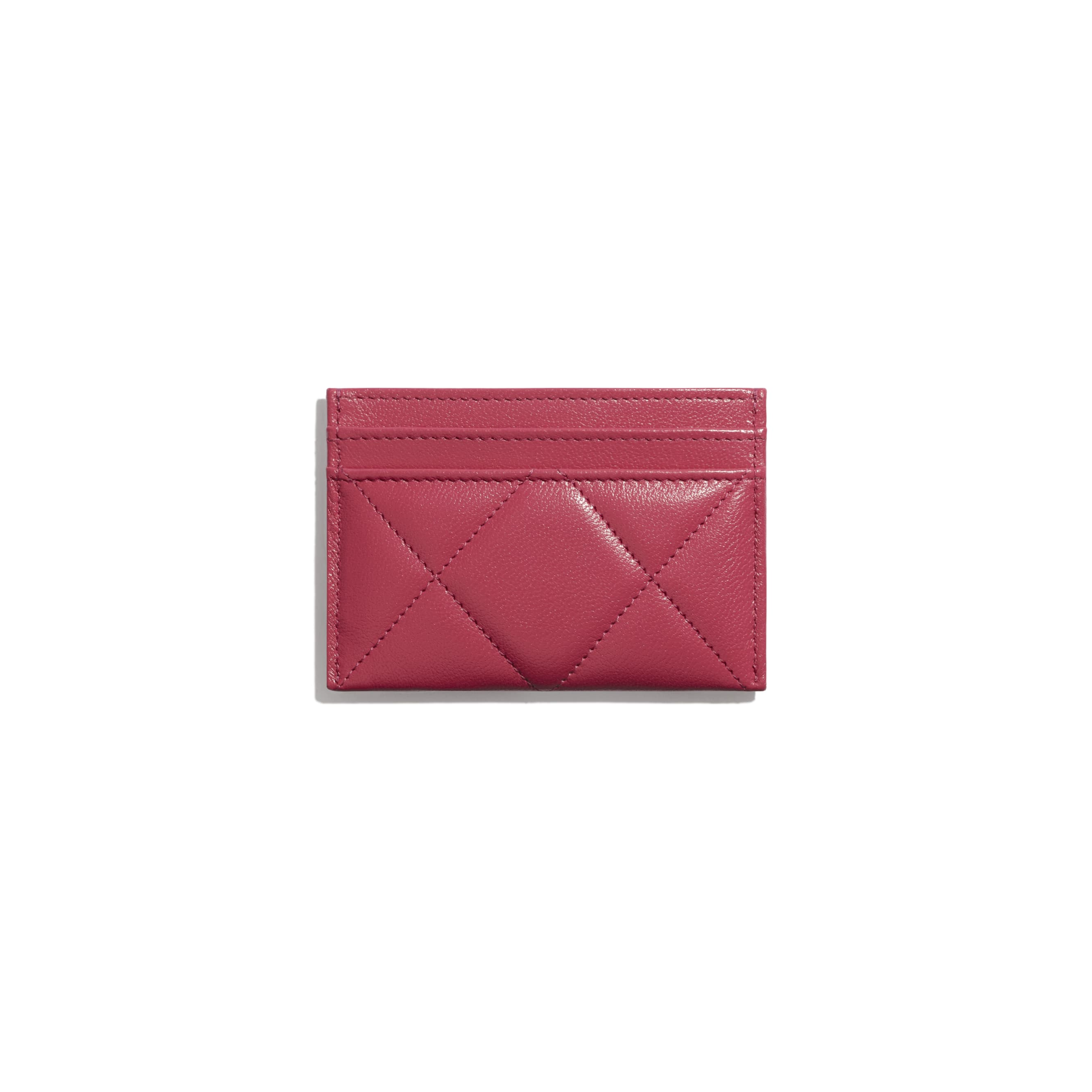 CHANEL 19 Card Holder - Dark Pink - Lambskin, Gold-Tone, Silver-Tone & Ruthenium-Finish Metal - CHANEL - Alternative view - see standard sized version