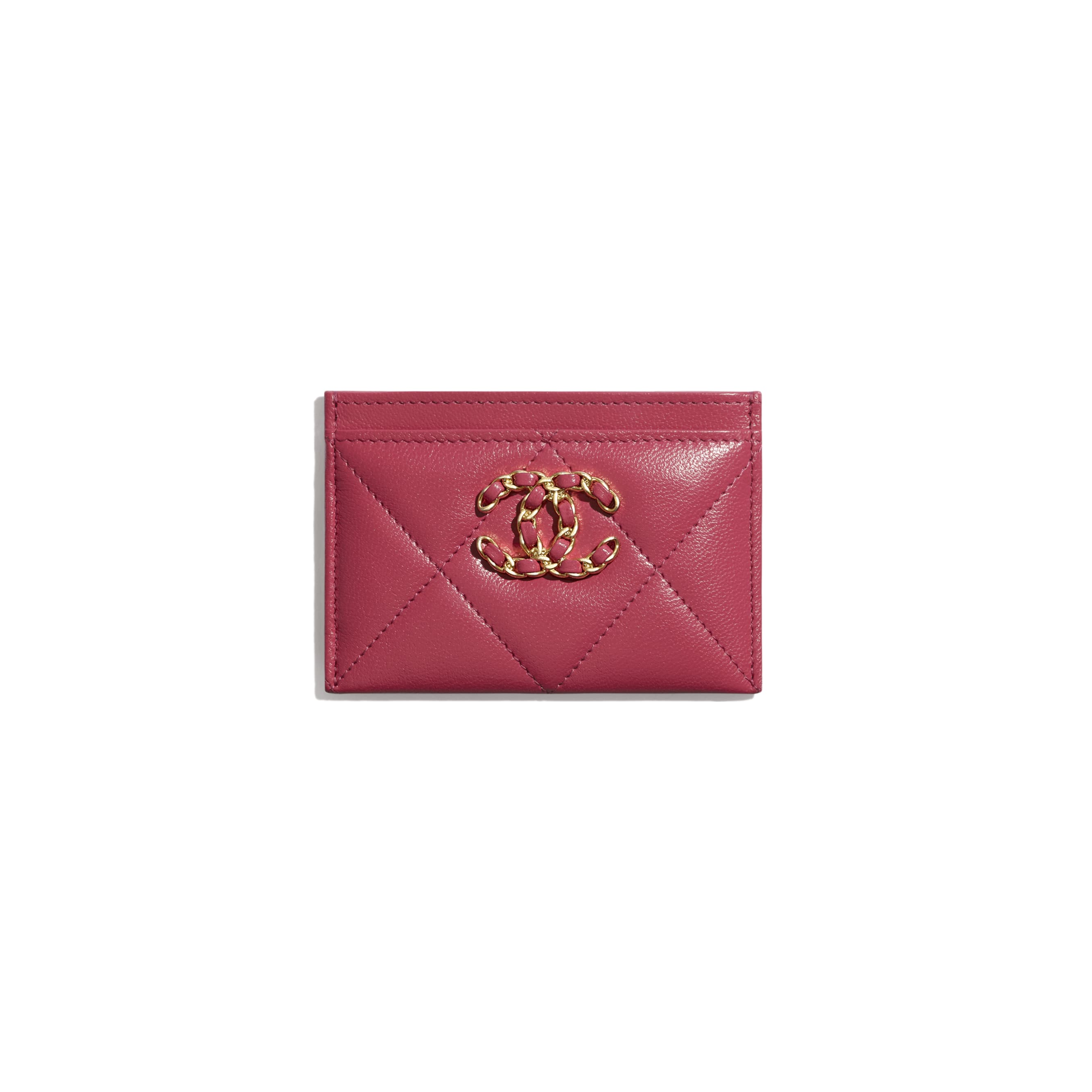 CHANEL 19 Card Holder - Dark Pink - Lambskin, Gold-Tone, Silver-Tone & Ruthenium-Finish Metal - CHANEL - Default view - see standard sized version