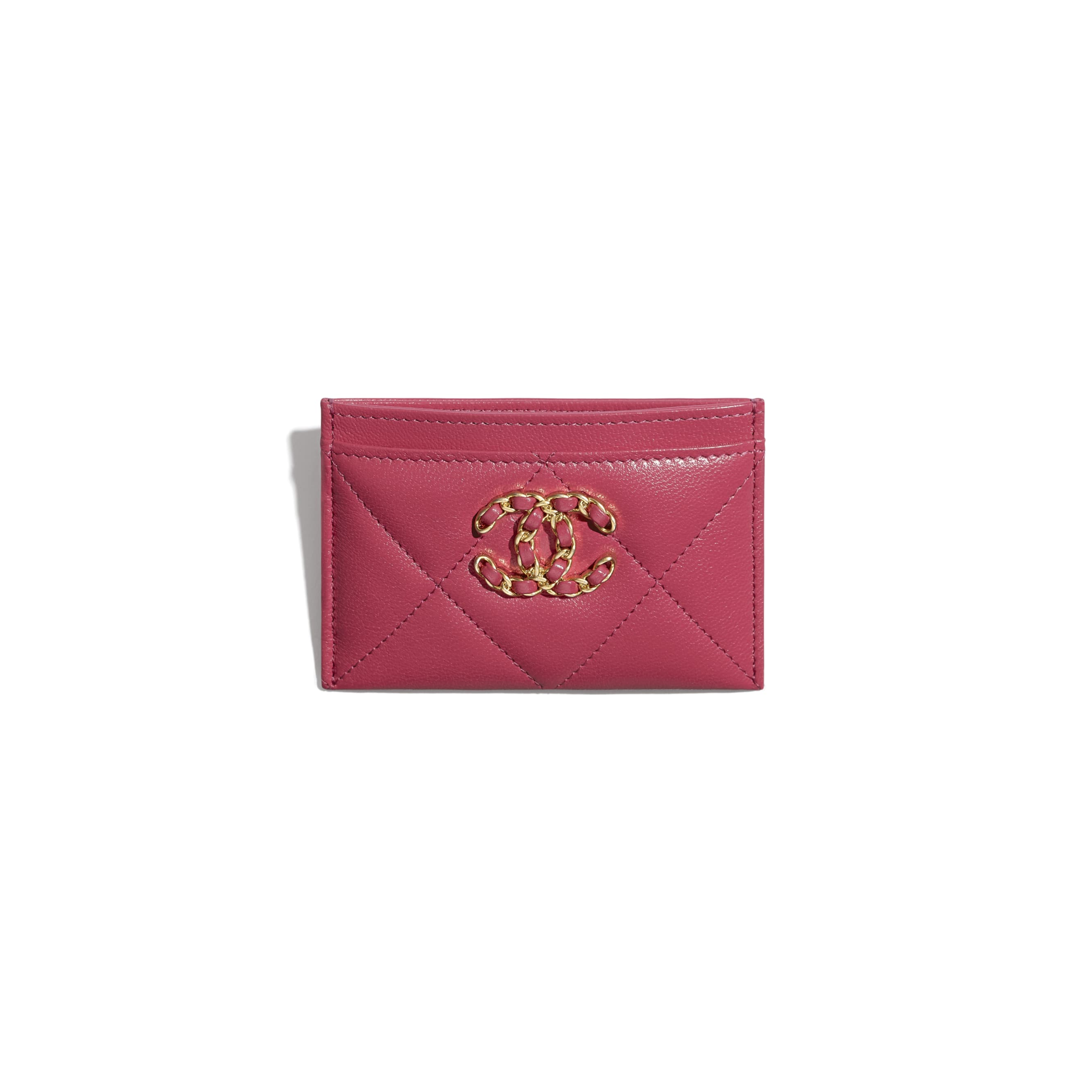 CHANEL 19 Card Holder - Dark Pink - Lambskin, Gold-Tone, Silver-Tone & Ruthenium-Finish Metal - CHANEL - Other view - see standard sized version