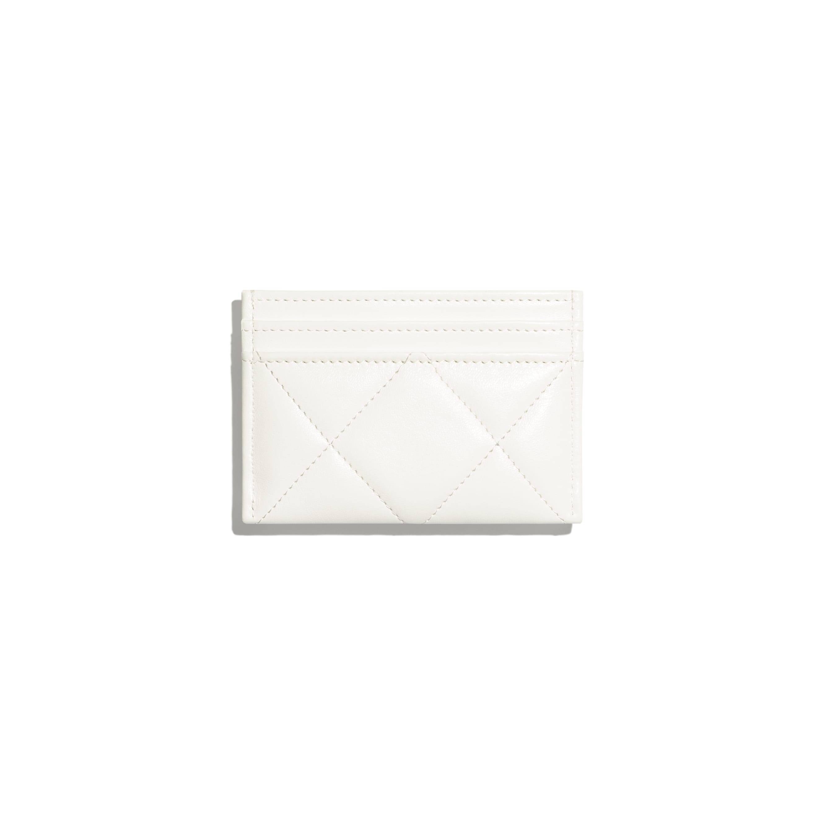 CHANEL 19 Card Holder - White - Lambskin, Gold-Tone, Silver-Tone & Ruthenium-Finish Metal - CHANEL - Alternative view - see standard sized version
