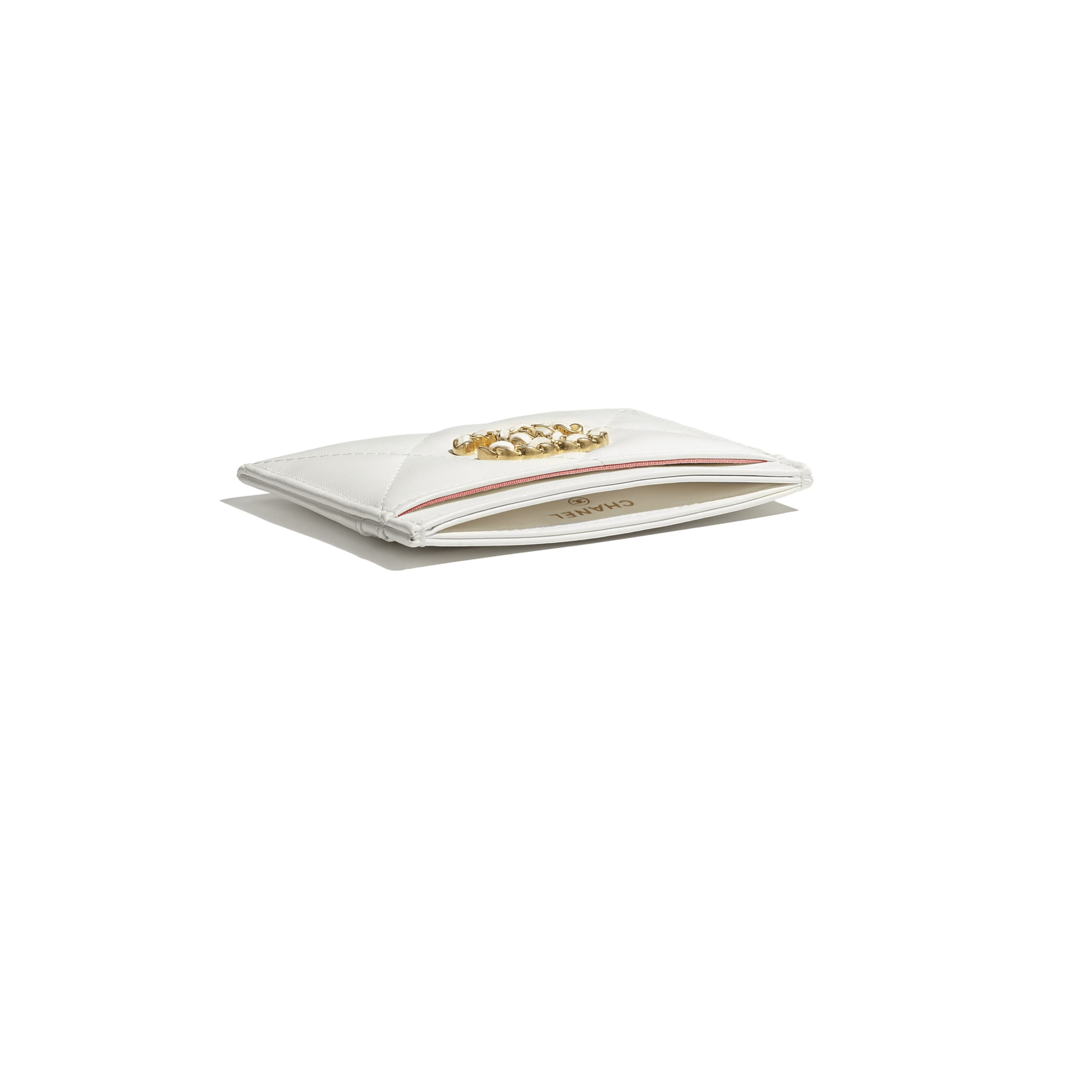 CHANEL 19 Card Holder - White - Lambskin, Gold-Tone, Silver-Tone & Ruthenium-Finish Metal - CHANEL - Extra view - see standard sized version