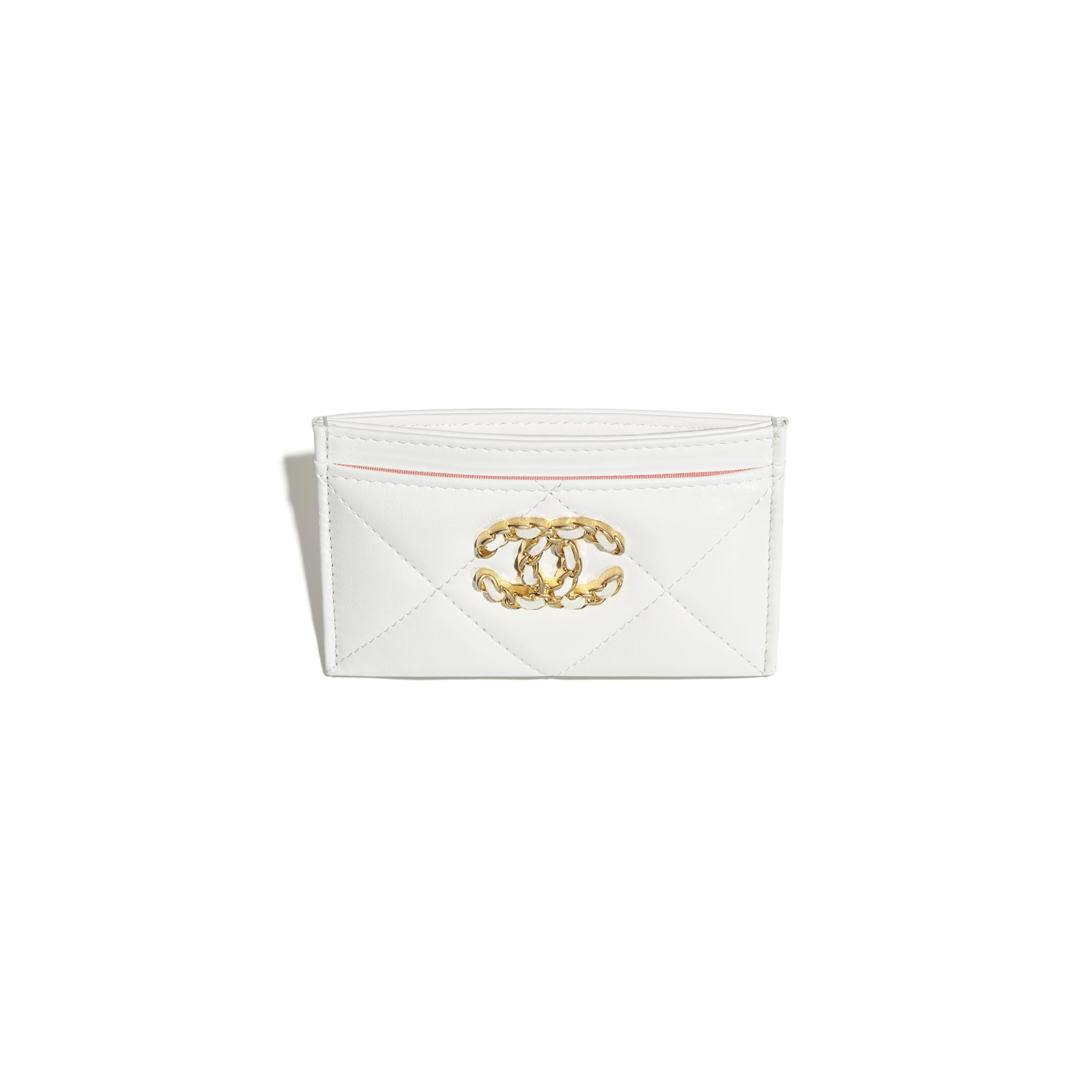 CHANEL 19 Card Holder - White - Lambskin, Gold-Tone, Silver-Tone & Ruthenium-Finish Metal - CHANEL - Other view - see standard sized version