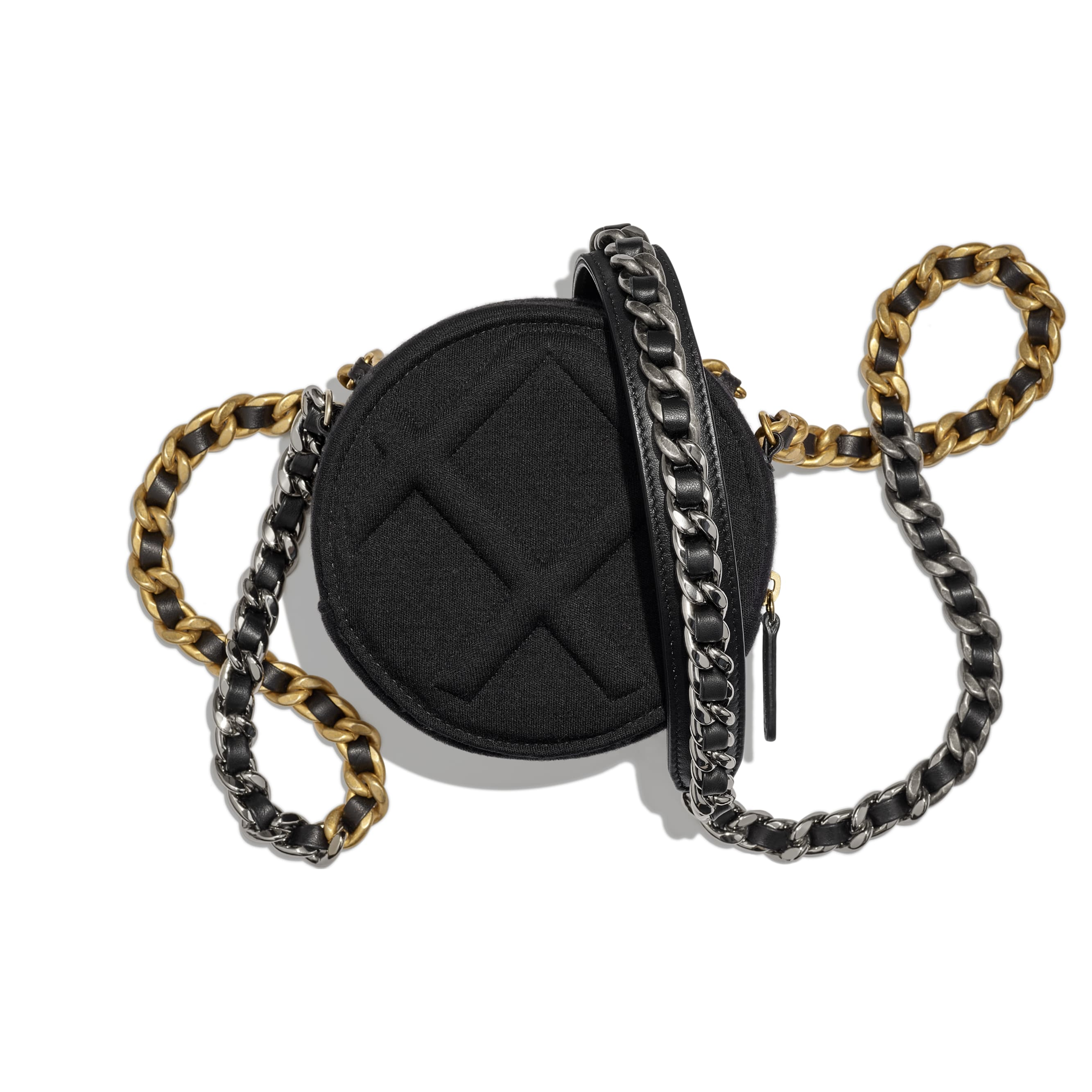CHANEL 19 Clutch with Chain - Black - Jersey, Gold-Tone, Silver-Tone & Ruthenium-Finish Metal - CHANEL - Alternative view - see standard sized version