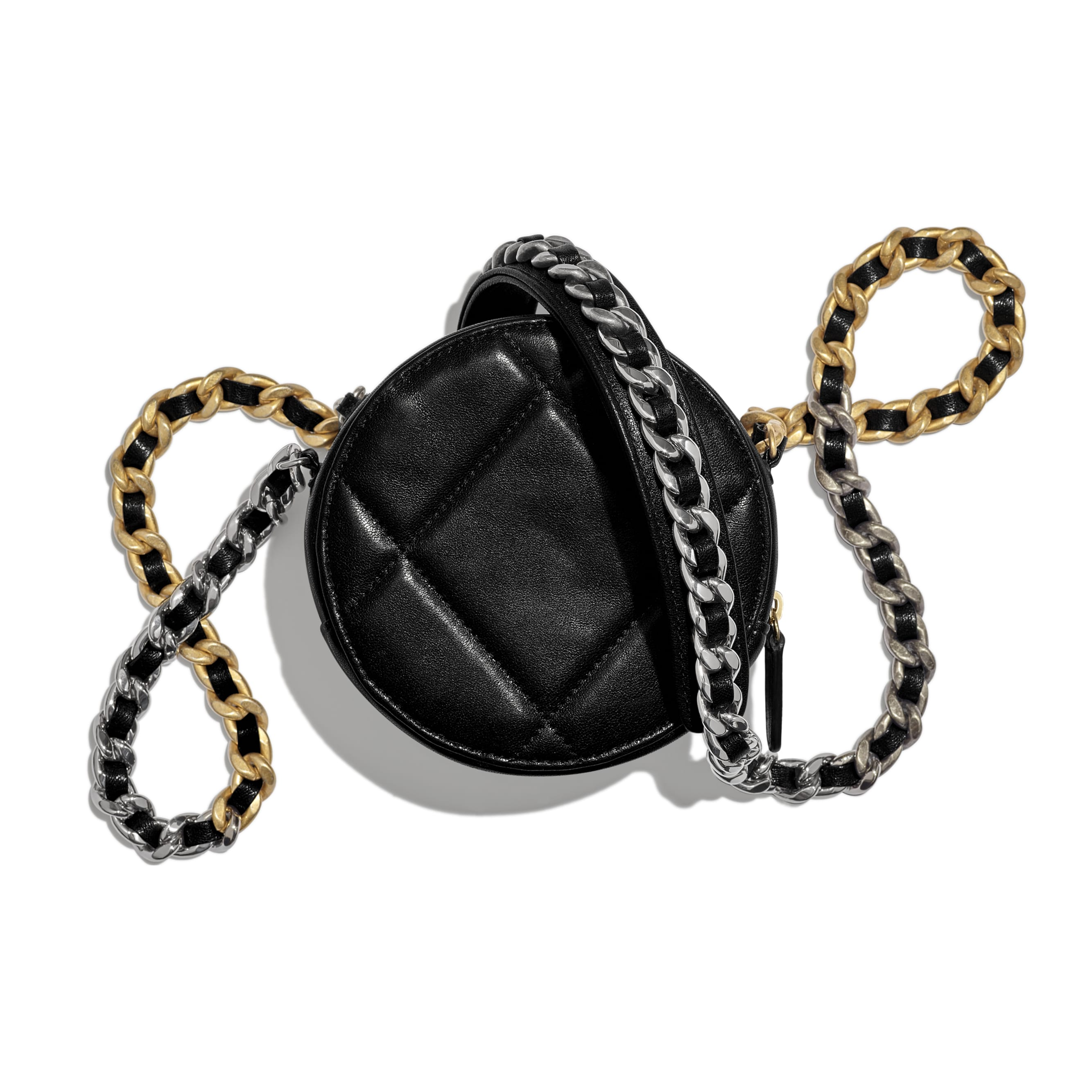 CHANEL 19 Clutch with Chain - Black - Lambskin, Gold-Tone, Silver-Tone & Ruthenium-Finish Metal - Alternative view - see standard sized version