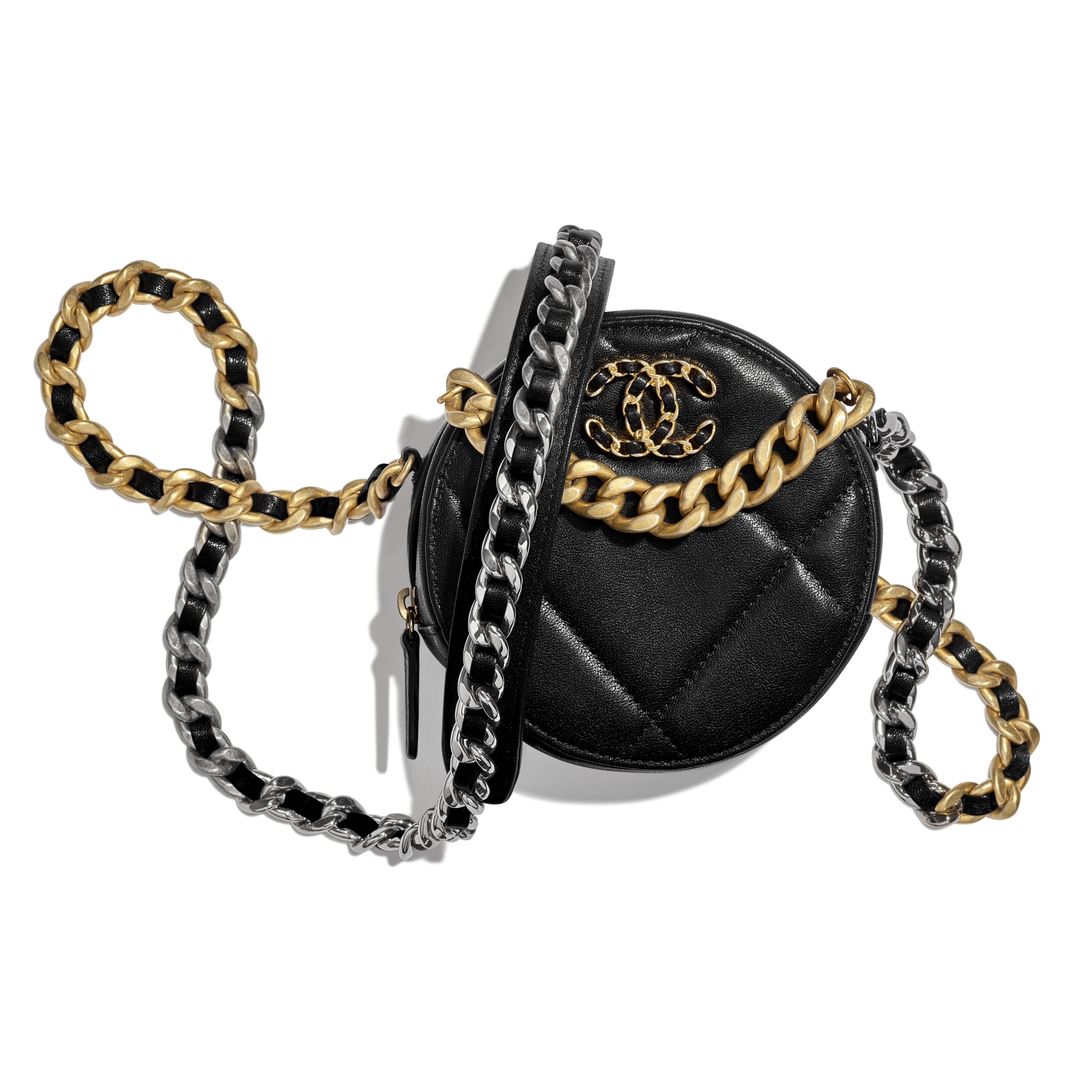 CHANEL 19 Clutch with Chain - Black - Lambskin, Gold-Tone, Silver-Tone & Ruthenium-Finish Metal - Default view - see standard sized version