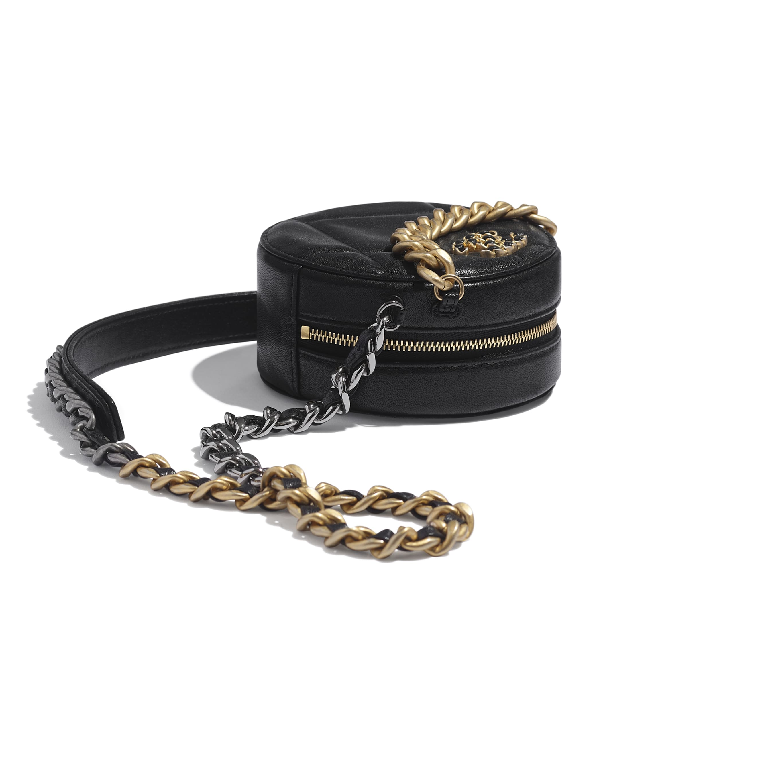 CHANEL 19 Clutch with Chain - Black - Lambskin, Gold-Tone, Silver-Tone & Ruthenium-Finish Metal - Extra view - see standard sized version