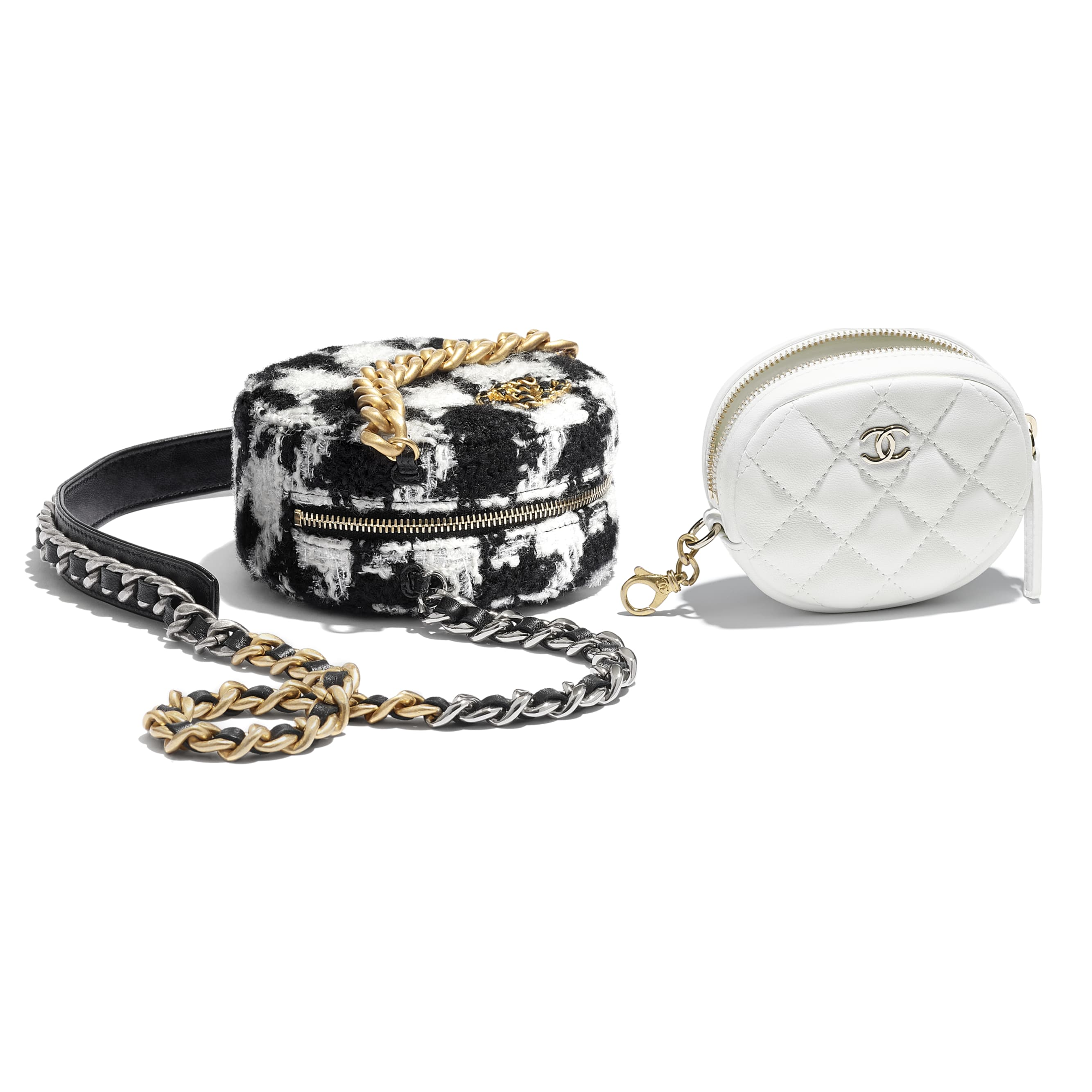 CHANEL 19 Clutch with Chain & Coin Purse - Black & White - Wool Tweed, Lambskin, Gold-Tone, Silver-Tone & Ruthenium-Finish Metal - Extra view - see standard sized version