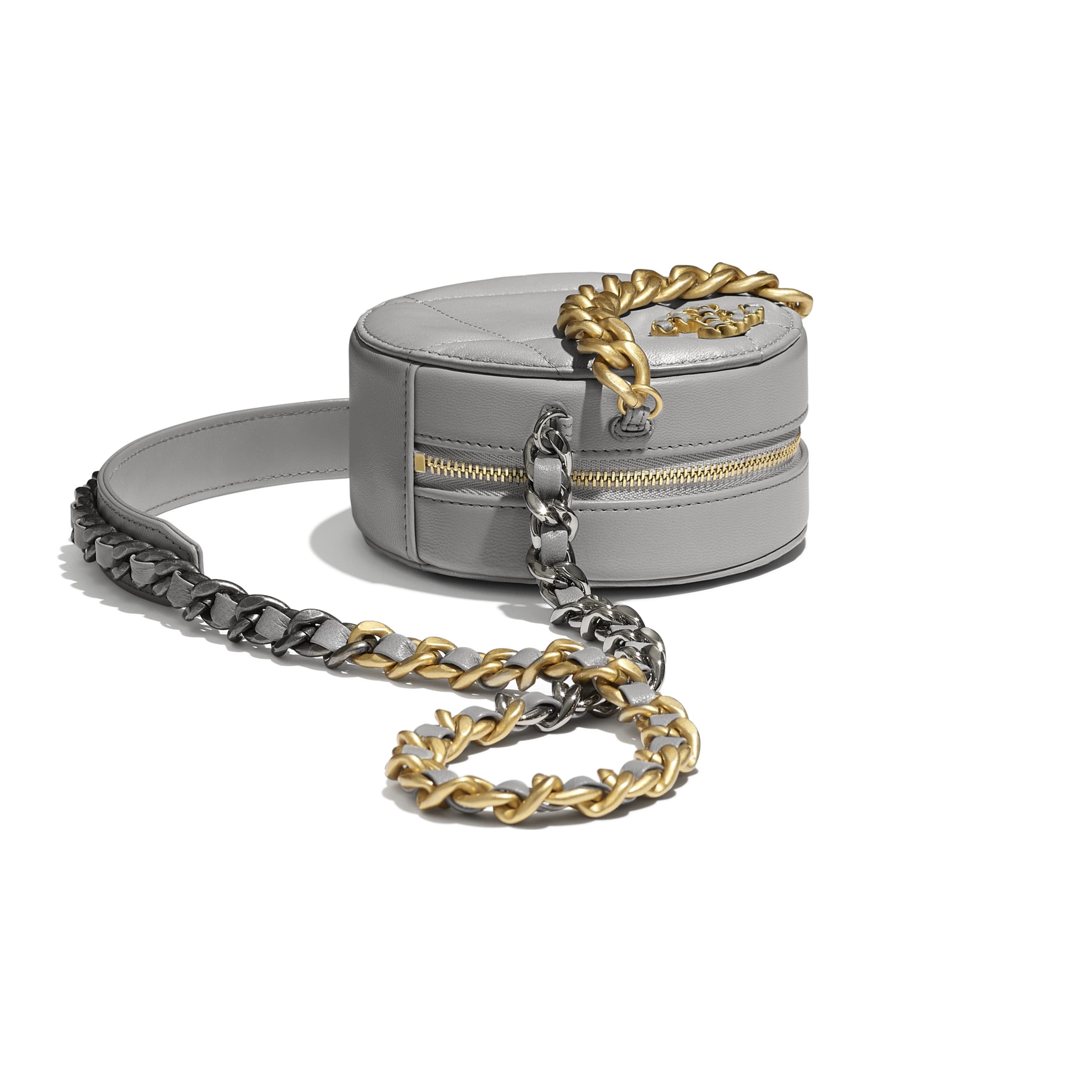 CHANEL 19 Clutch with Chain - Grey - Shiny Goatskin, Gold-Tone, Silver-Tone & Ruthenium-Finish Metal - CHANEL - Extra view - see standard sized version