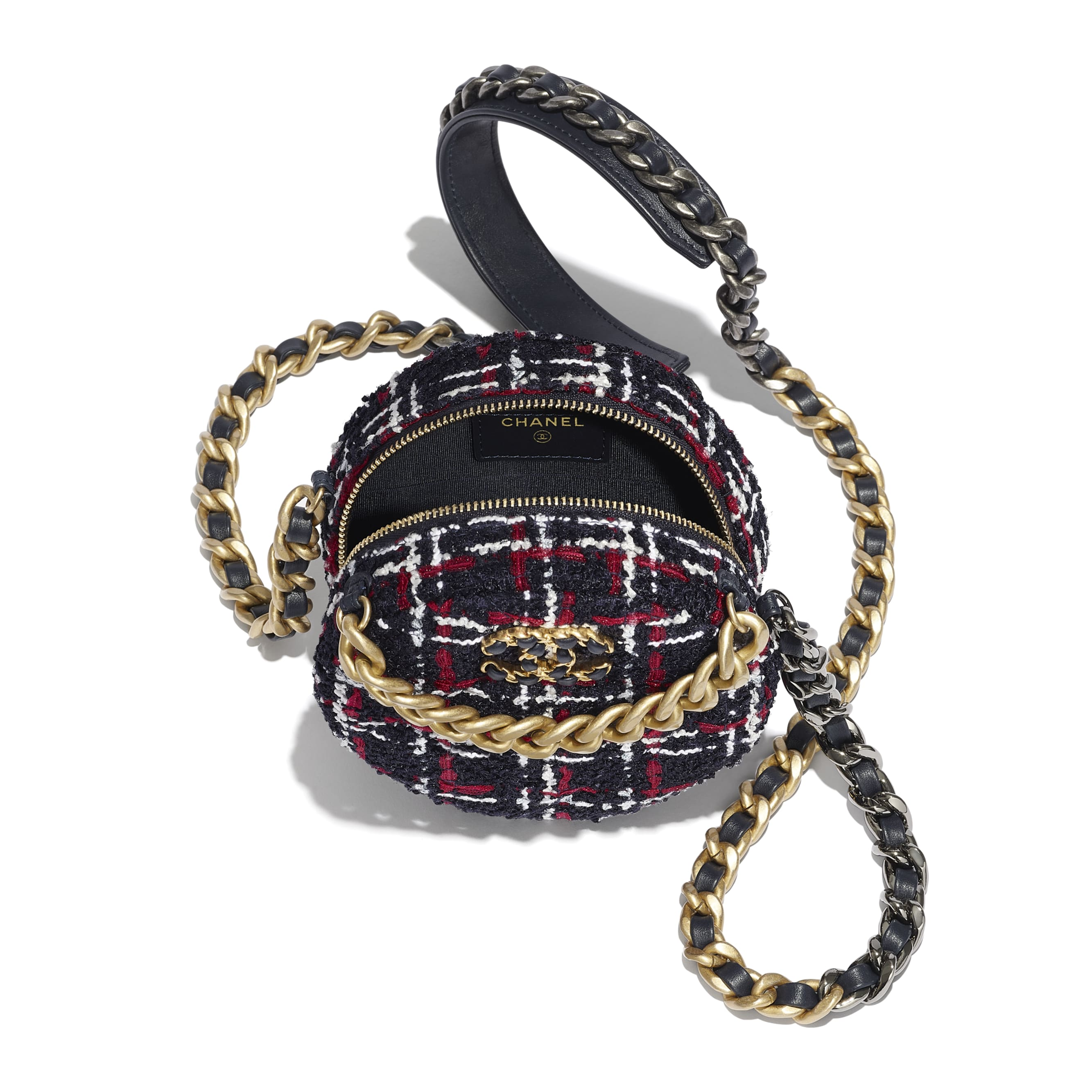 CHANEL 19 Clutch with Chain - Navy Blue, White & Red - Tweed, Gold-Tone, Silver-Tone & Ruthenium-Finish Metal - Alternative view - see standard sized version