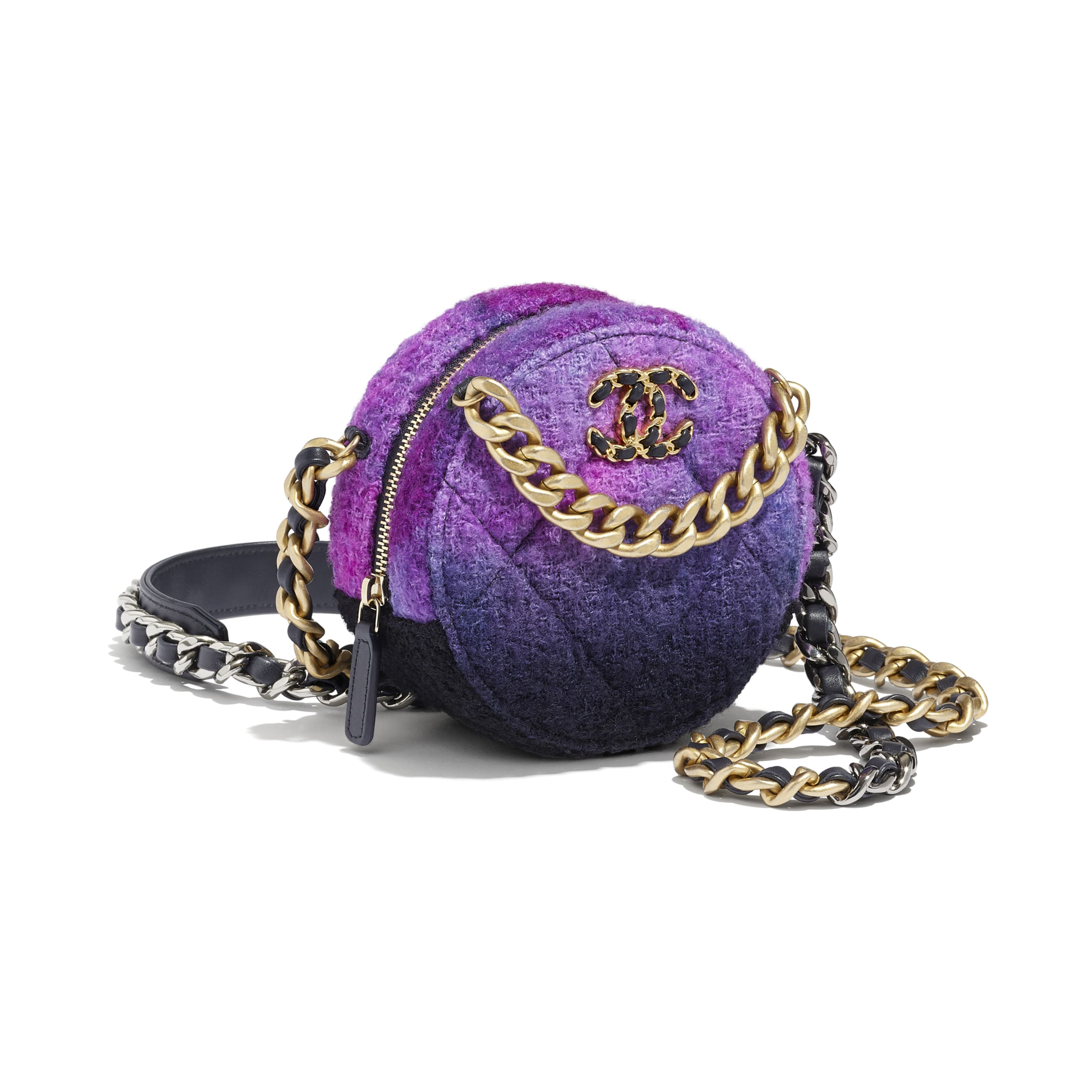 CHANEL 19 Clutch with Chain - Purple, Black & Blue - Wool Tweed, Gold-Tone, Silver-Tone & Ruthenium-Finish Metal - CHANEL - Other view - see standard sized version