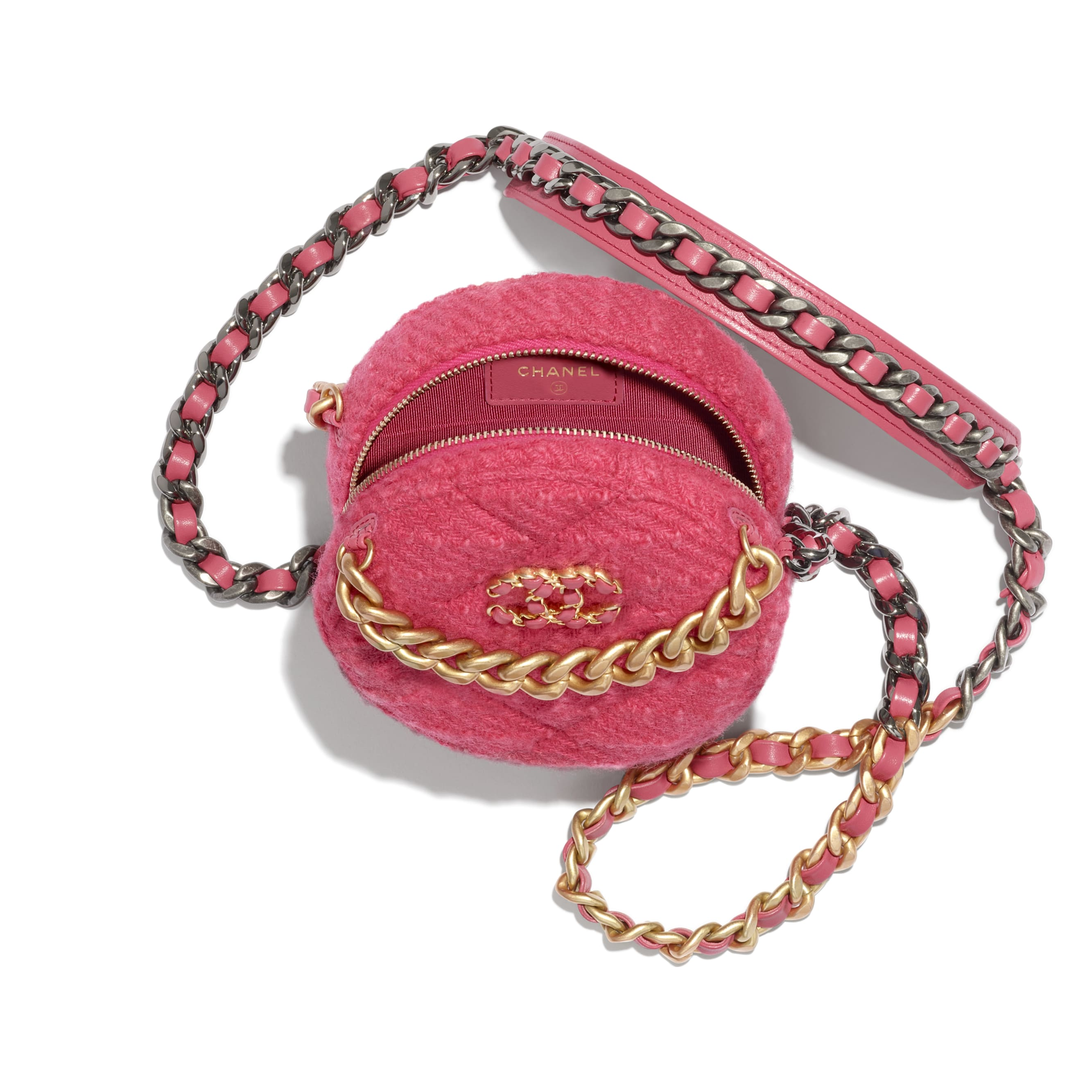 CHANEL 19 Clutch with Chain - Raspberry Pink - Wool Tweed, Gold-Tone, Silver-Tone & Ruthenium-Finish Metal - CHANEL - Alternative view - see standard sized version