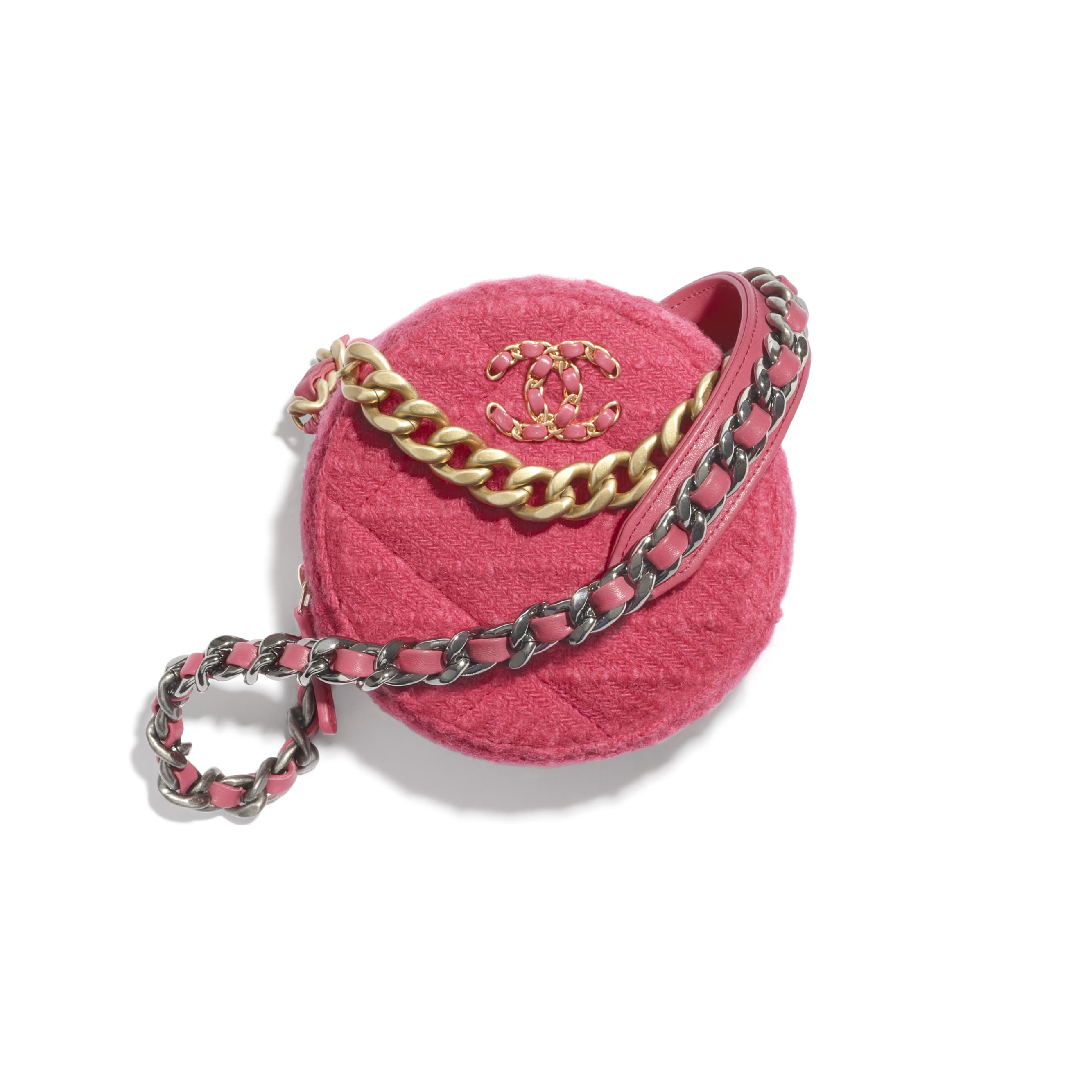 CHANEL 19 Clutch with Chain - Raspberry Pink - Wool Tweed, Gold-Tone, Silver-Tone & Ruthenium-Finish Metal - CHANEL - Default view - see standard sized version