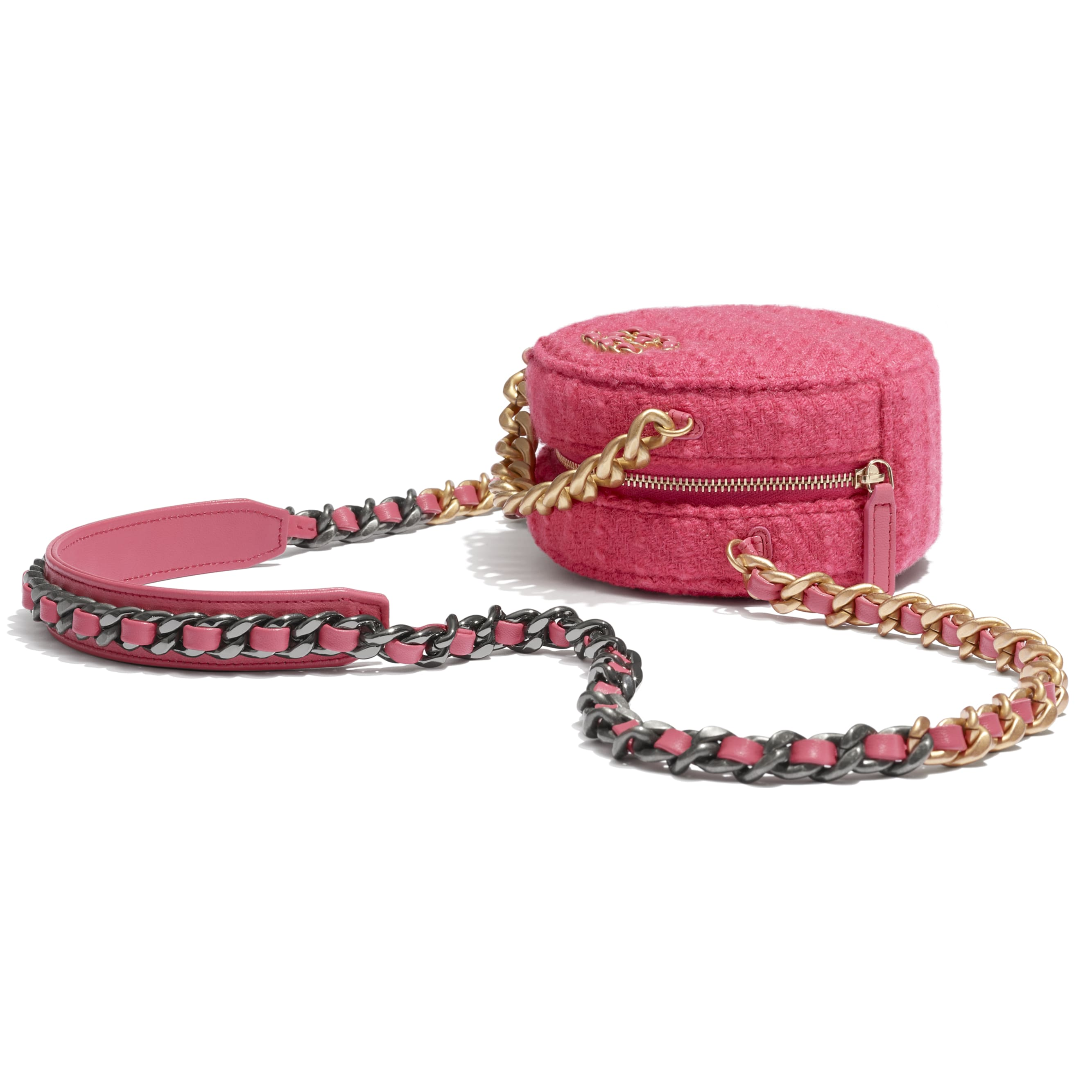 CHANEL 19 Clutch with Chain - Raspberry Pink - Wool Tweed, Gold-Tone, Silver-Tone & Ruthenium-Finish Metal - CHANEL - Extra view - see standard sized version