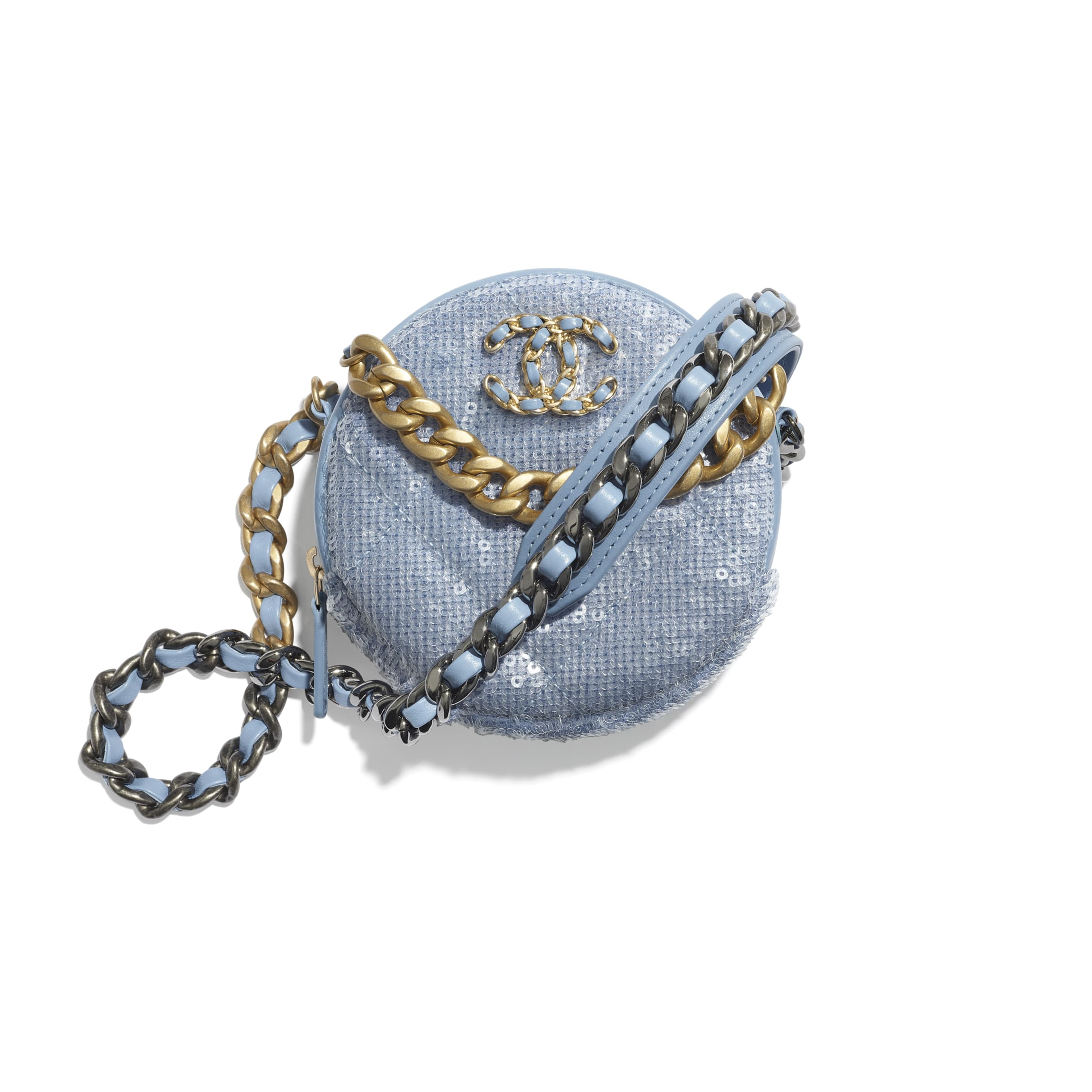 CHANEL 19 Clutch with Chain - Sky Blue - Sequins, calfksin, silver-tone & gold-tone metal - CHANEL - Default view - see standard sized version