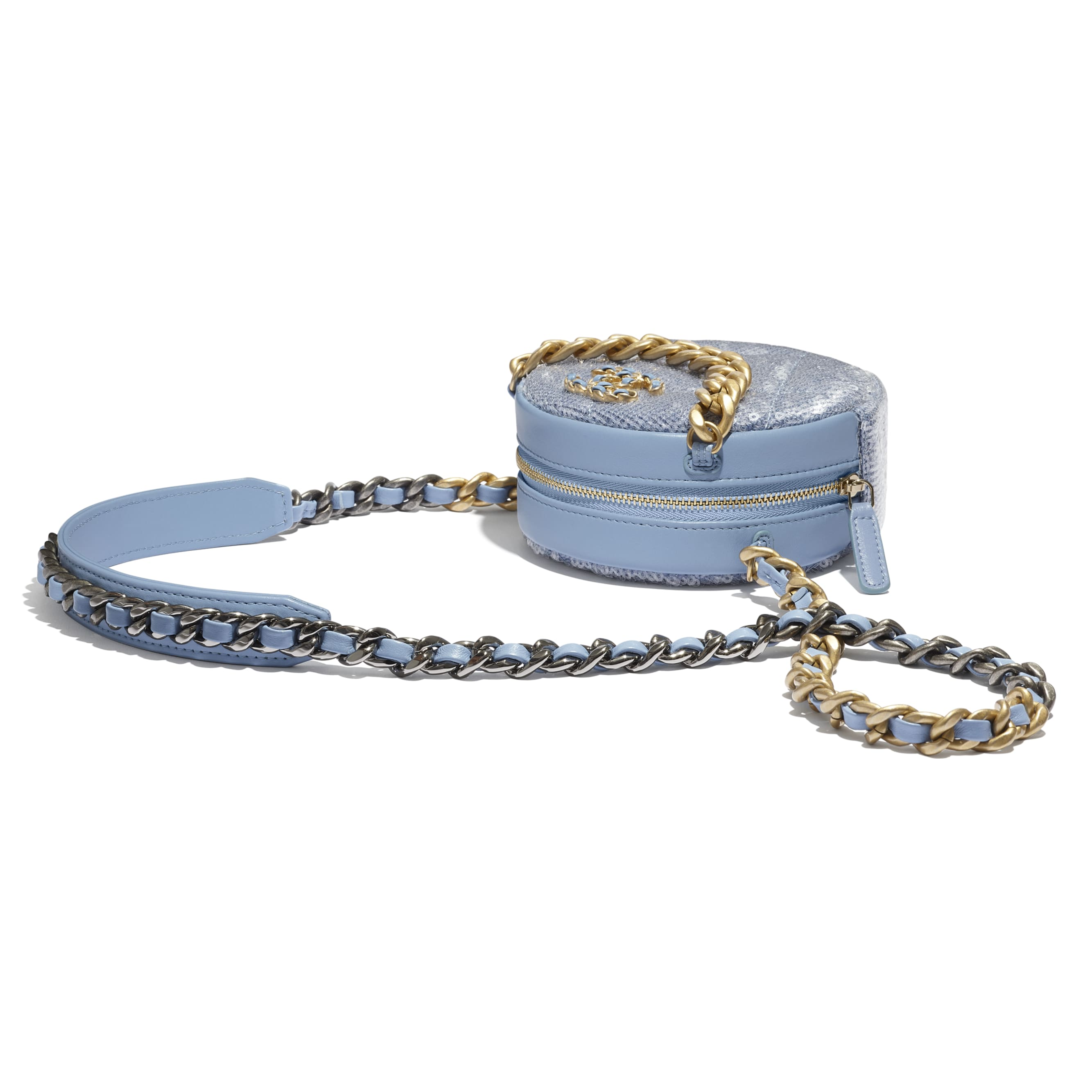 CHANEL 19 Clutch with Chain - Sky Blue - Sequins, calfksin, silver-tone & gold-tone metal - CHANEL - Extra view - see standard sized version