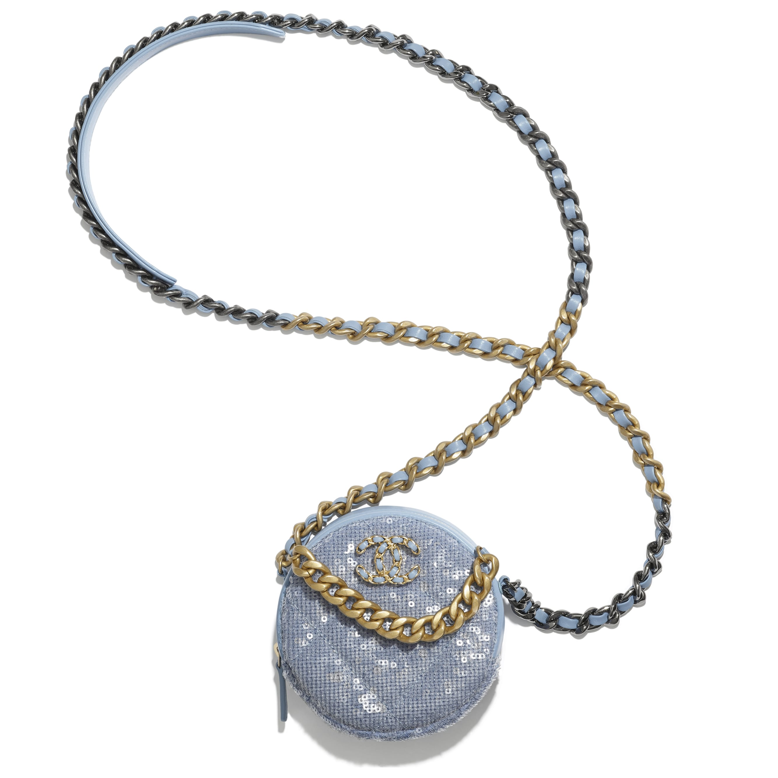 CHANEL 19 Clutch with Chain - Sky Blue - Sequins, calfksin, silver-tone & gold-tone metal - CHANEL - Other view - see standard sized version