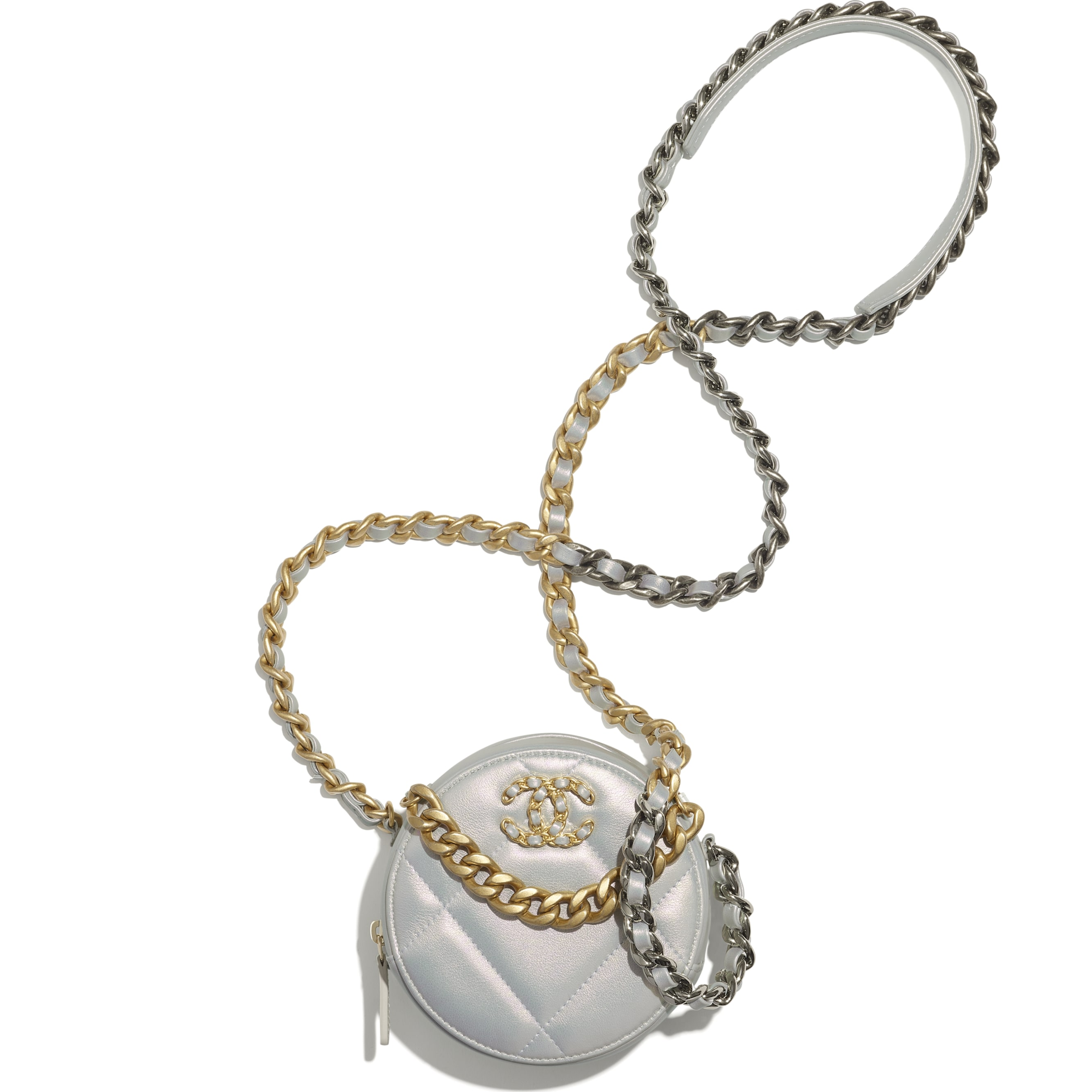 CHANEL 19 Clutch with Chain - White - Iridescent Calfskin, Gold-Tone, Silver-Tone & Ruthenium-Finish Metal - CHANEL - Alternative view - see standard sized version