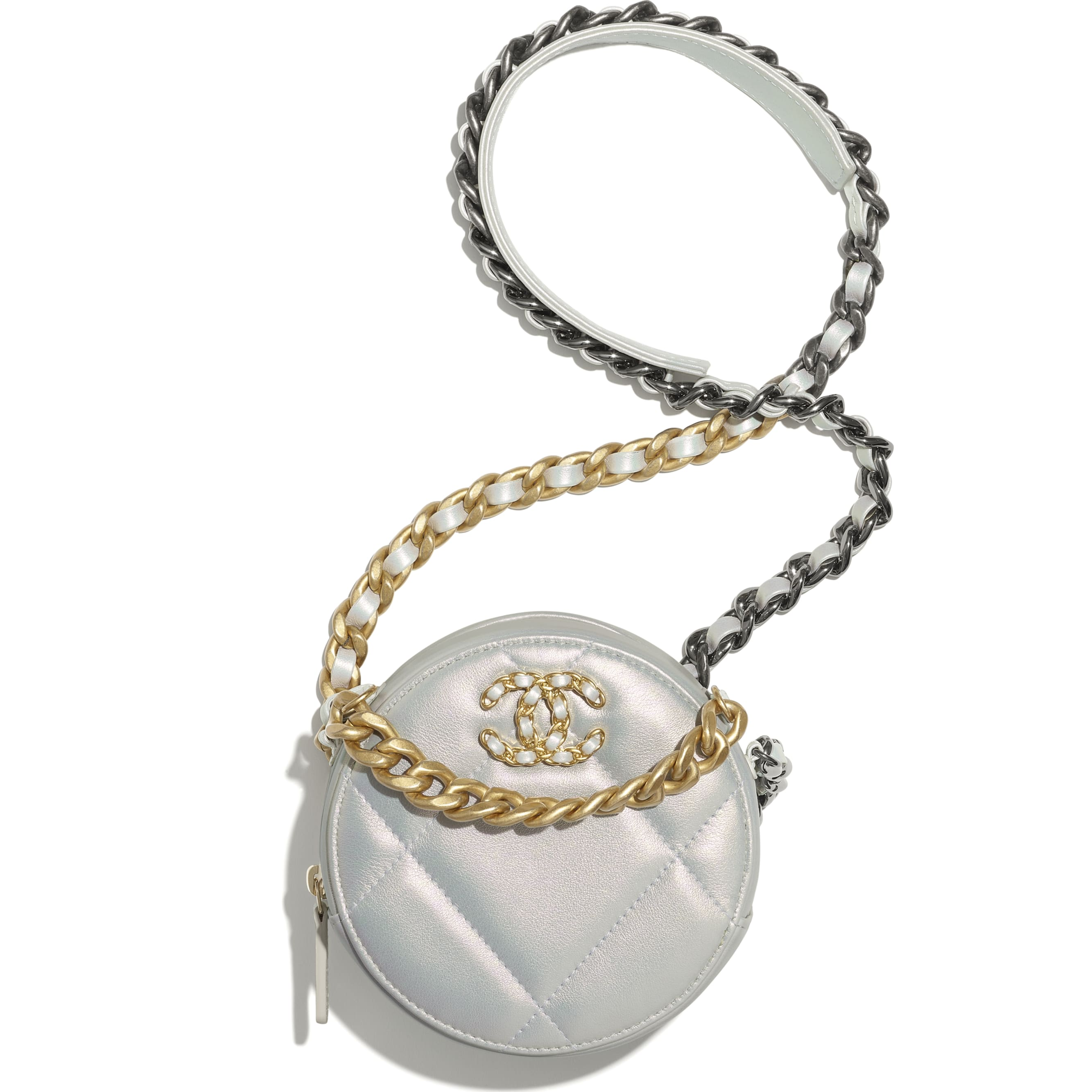 CHANEL 19 Clutch with Chain - White - Iridescent Calfskin, Gold-Tone, Silver-Tone & Ruthenium-Finish Metal - CHANEL - Default view - see standard sized version