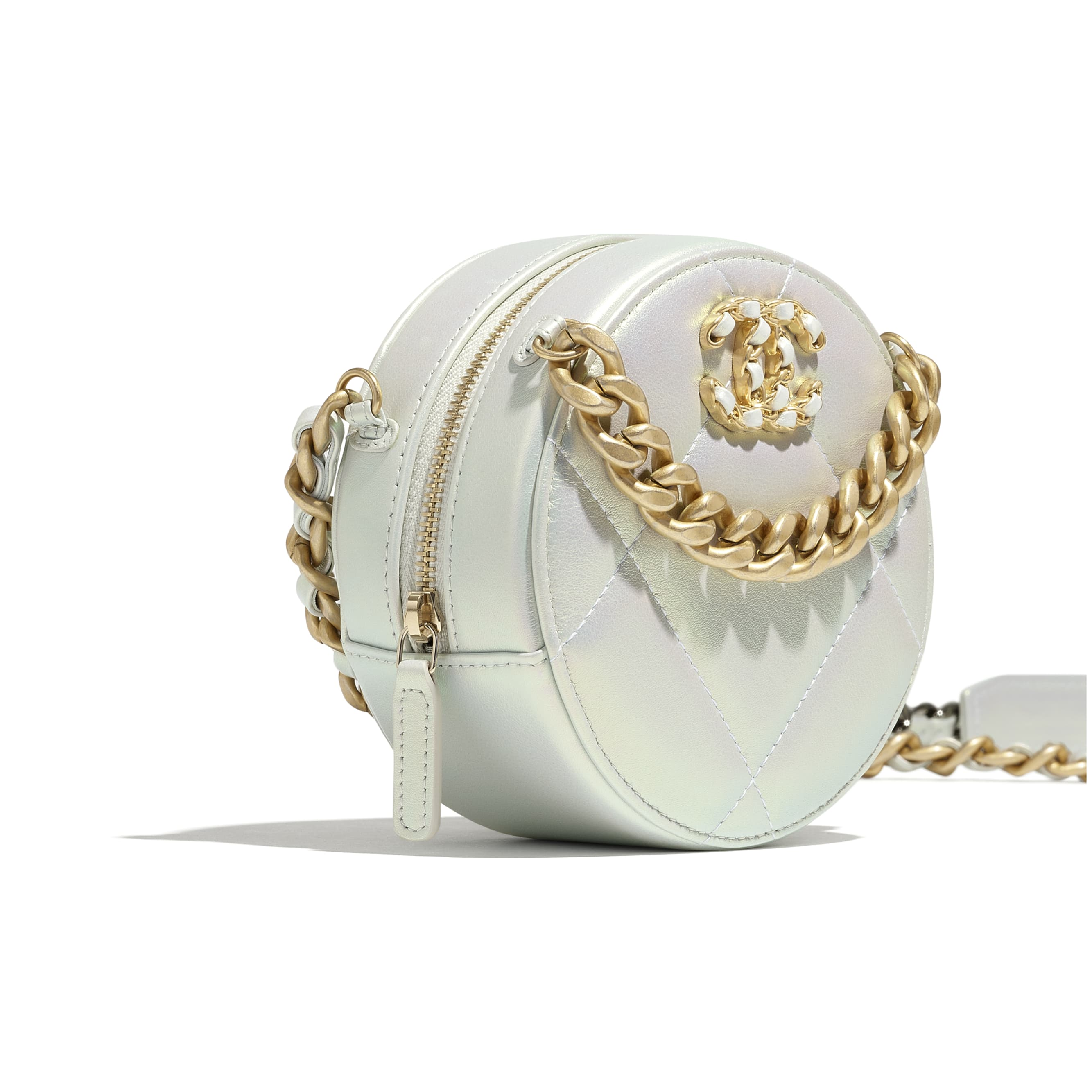 CHANEL 19 Clutch with Chain - White - Iridescent Calfskin, Gold-Tone, Silver-Tone & Ruthenium-Finish Metal - CHANEL - Extra view - see standard sized version