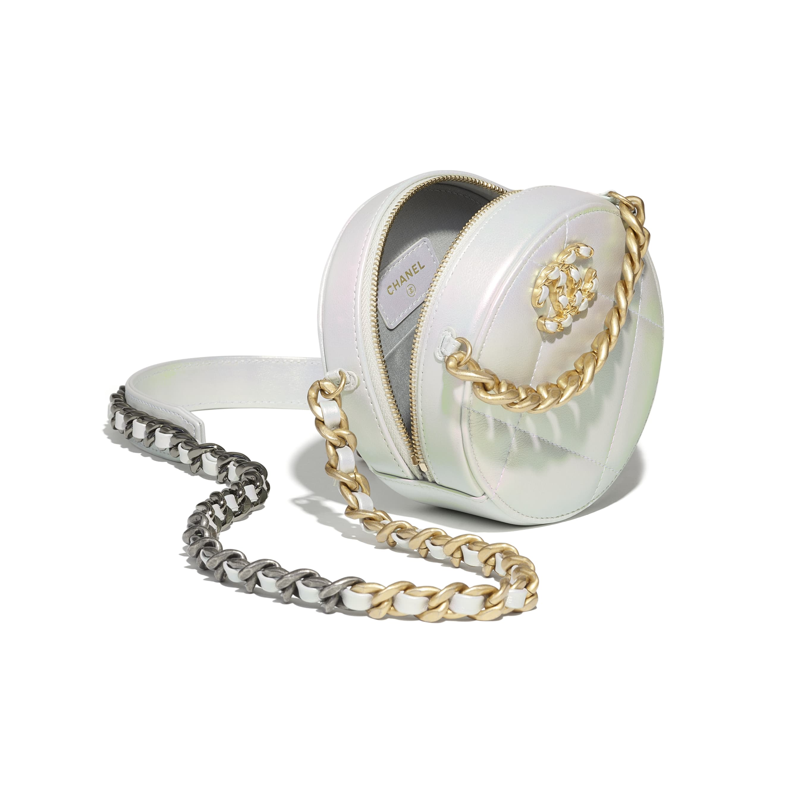 Pochette mit Kette CHANEL 19 - Weiß - Irisierendes Kalbsleder, gold-, silber- & rutheniumfarbenes Metall - CHANEL - Weitere Ansicht - Standardgröße anzeigen