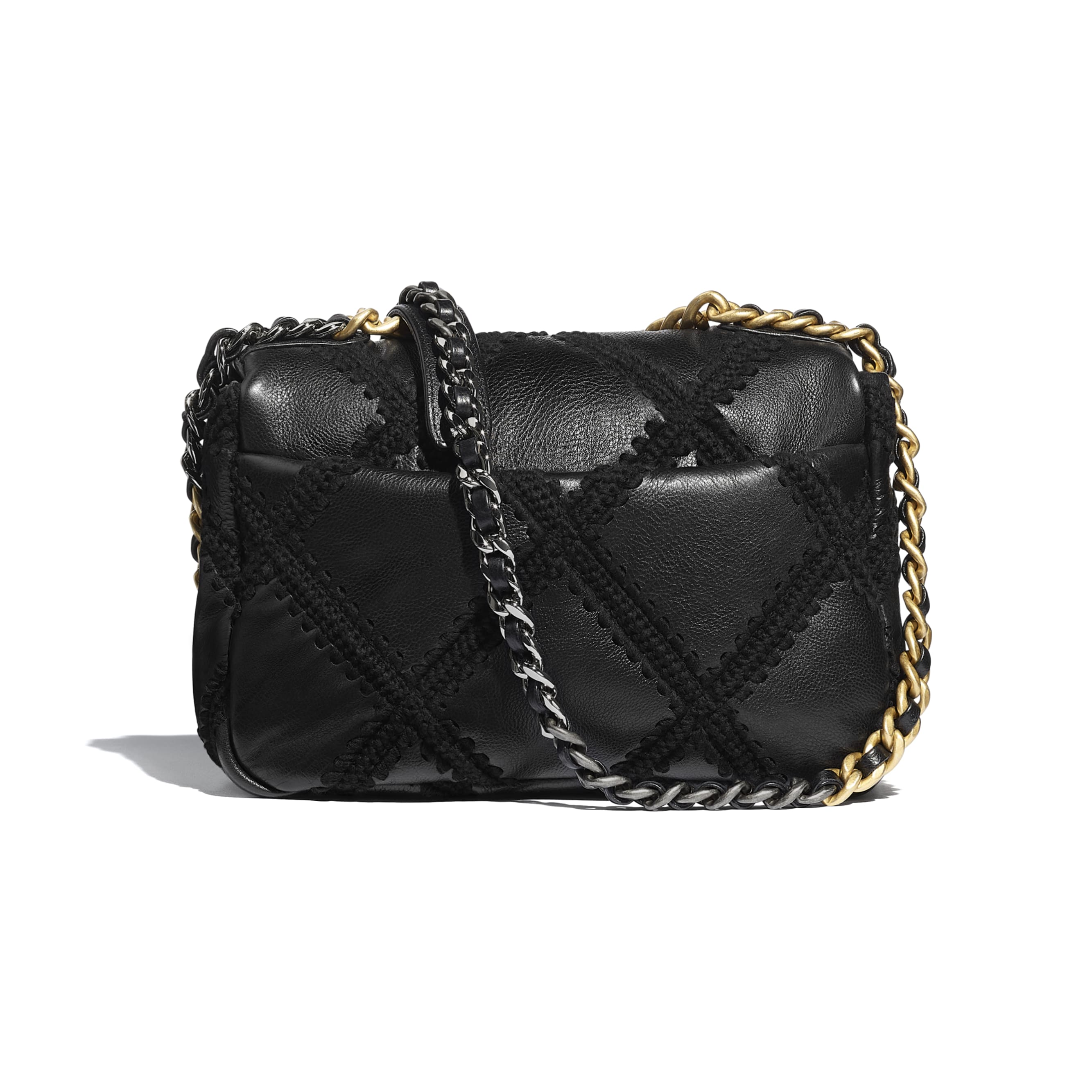 CHANEL 19 Flap Bag - Black - Calfskin, Crochet, Gold-Tone, Silver-Tone & Ruthenium-Finish Metal - CHANEL - Alternative view - see standard sized version