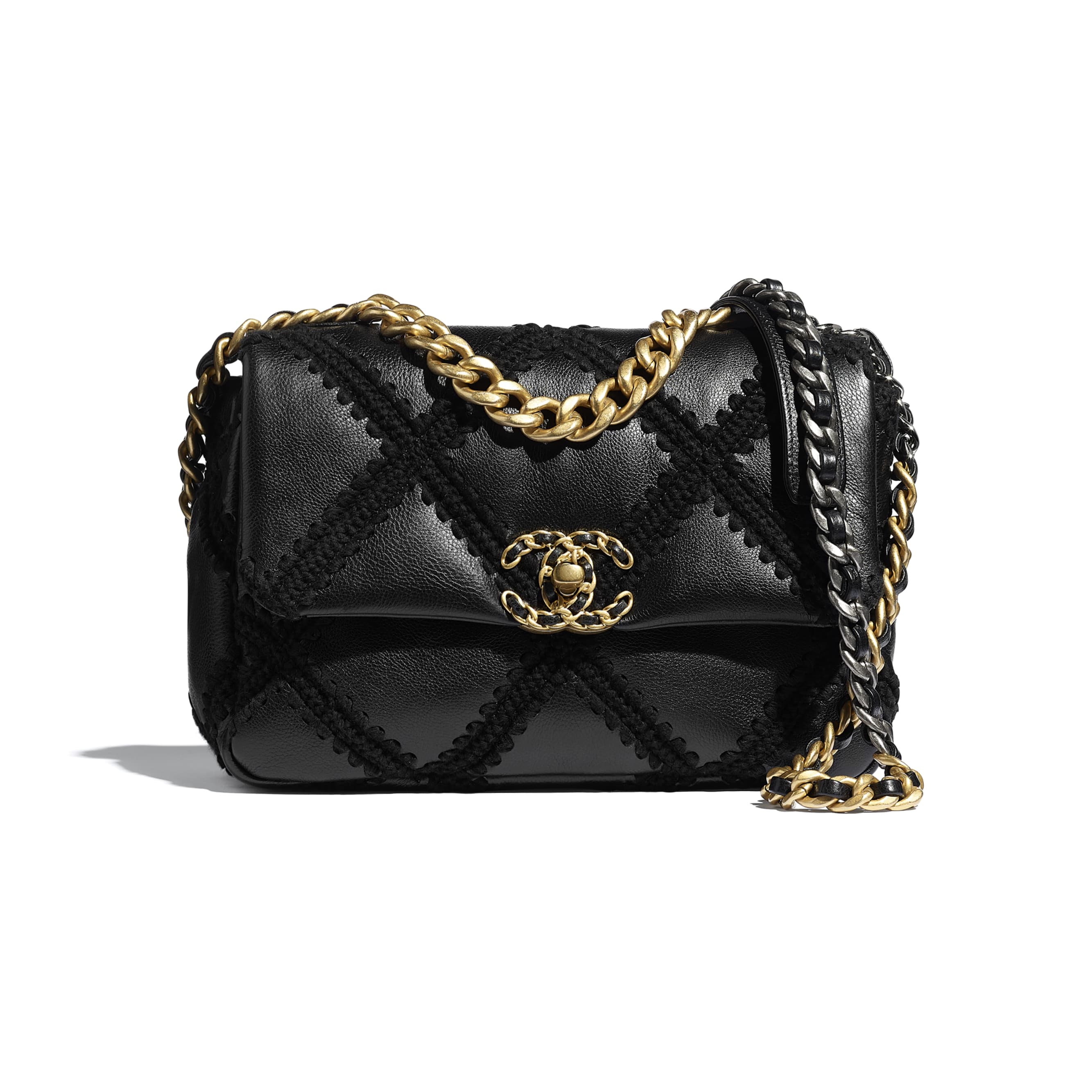 CHANEL 19 Flap Bag - Black - Calfskin, Crochet, Gold-Tone, Silver-Tone & Ruthenium-Finish Metal - CHANEL - Default view - see standard sized version