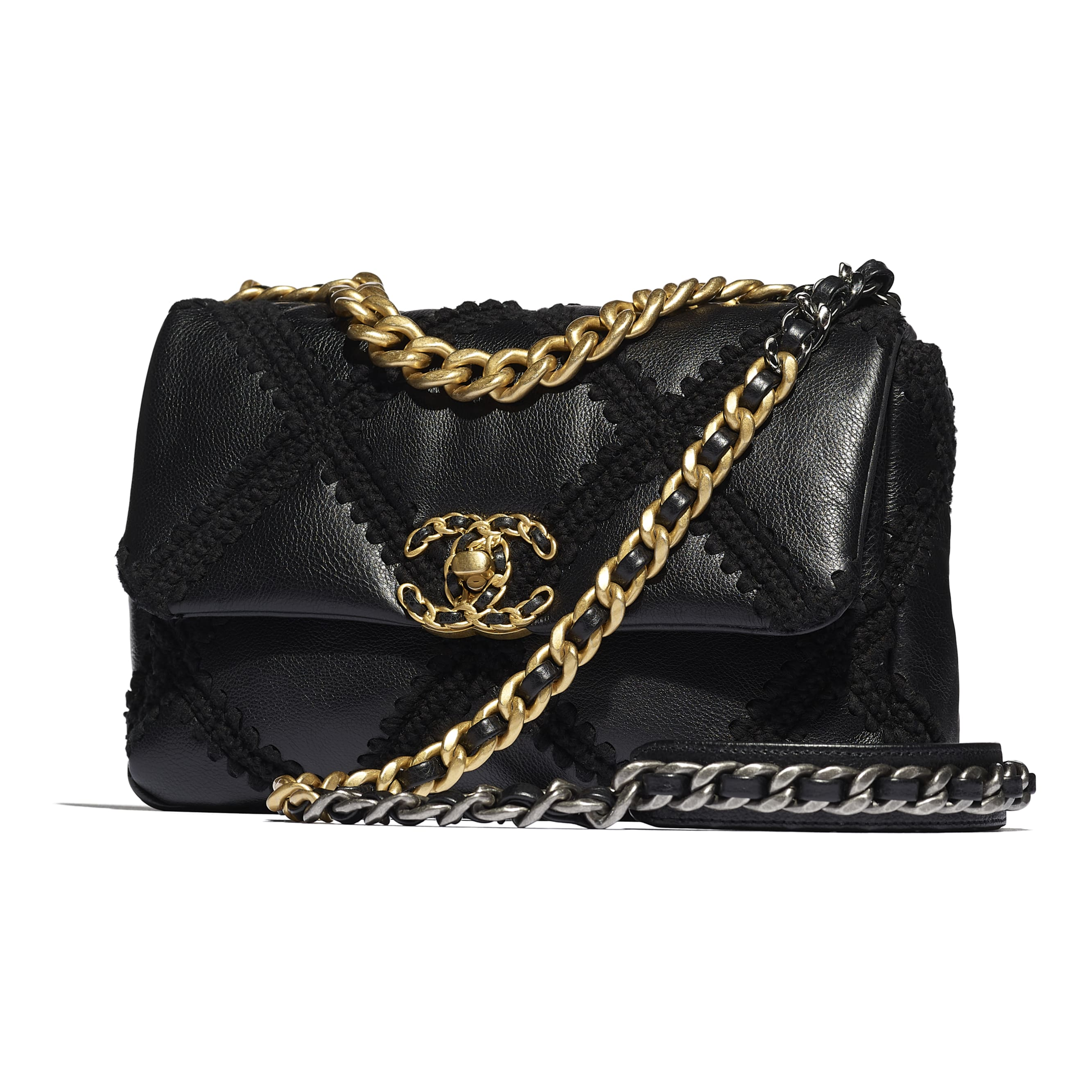 CHANEL 19 Flap Bag - Black - Calfskin, Crochet, Gold-Tone, Silver-Tone & Ruthenium-Finish Metal - CHANEL - Extra view - see standard sized version