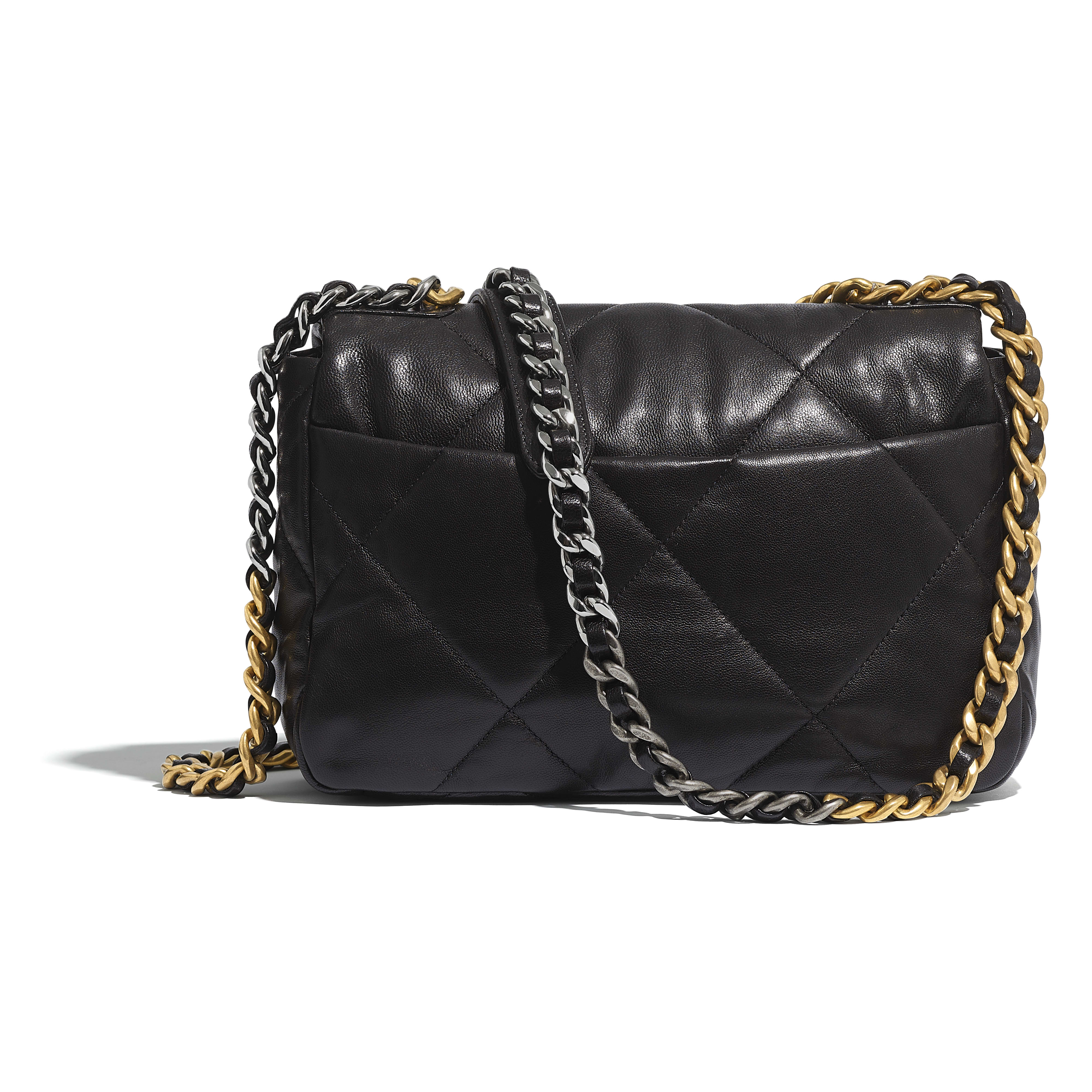 CHANEL 19 Flap Bag - Black - Goatskin, Gold-Tone, Silver-Tone & Ruthenium-Finish Metal - CHANEL - Alternative view - see standard sized version