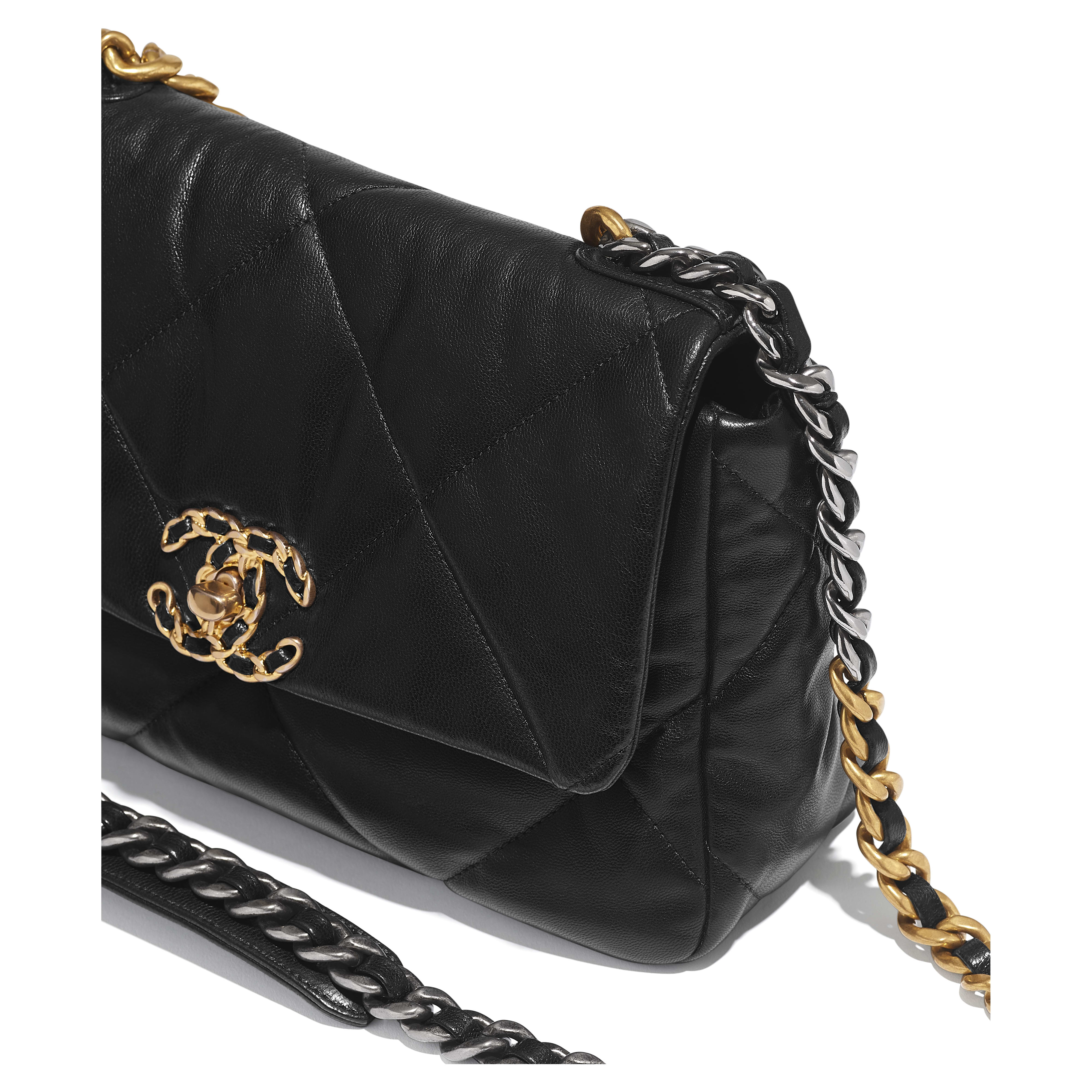 CHANEL 19 Flap Bag - Black - Goatskin, Gold-Tone, Silver-Tone & Ruthenium-Finish Metal - CHANEL - Extra view - see standard sized version