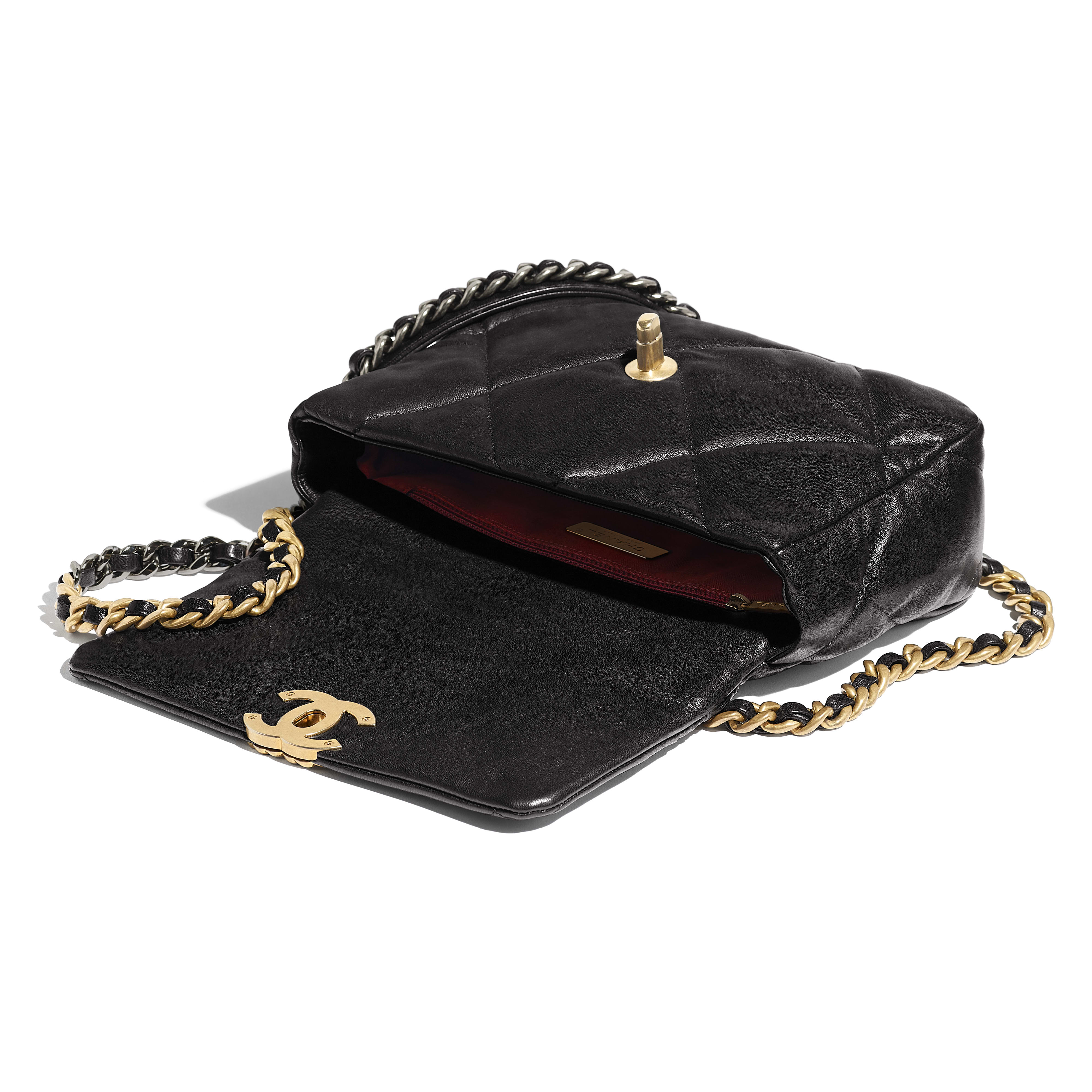 CHANEL 19 Flap Bag - Black - Goatskin, Gold-Tone, Silver-Tone & Ruthenium-Finish Metal - CHANEL - Other view - see standard sized version