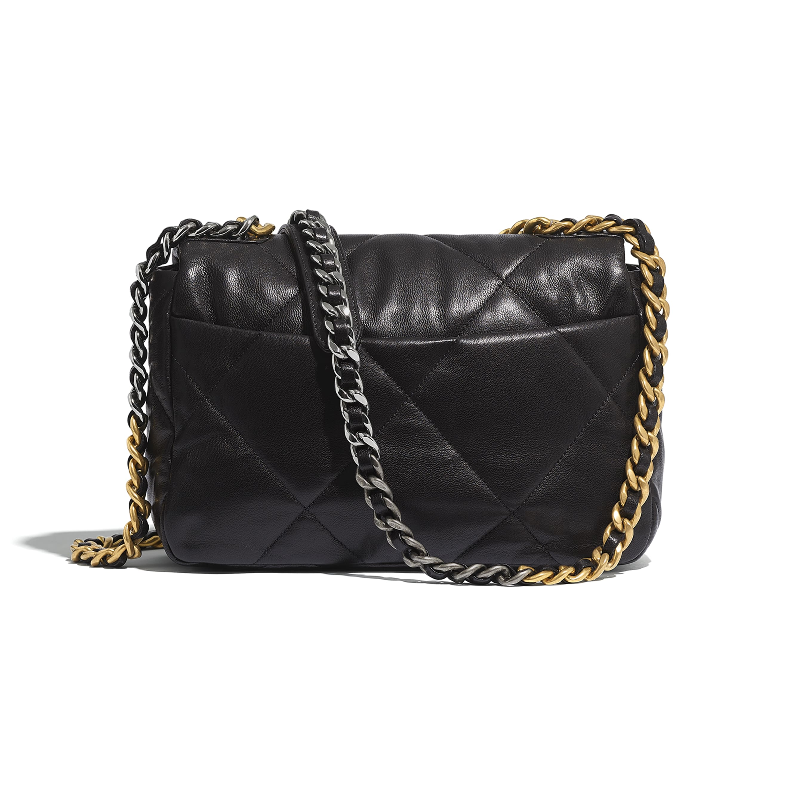 CHANEL 19 Flap Bag - Black - Lambskin, Gold-Tone, Silver-Tone & Ruthenium-Finish Metal - Alternative view - see standard sized version