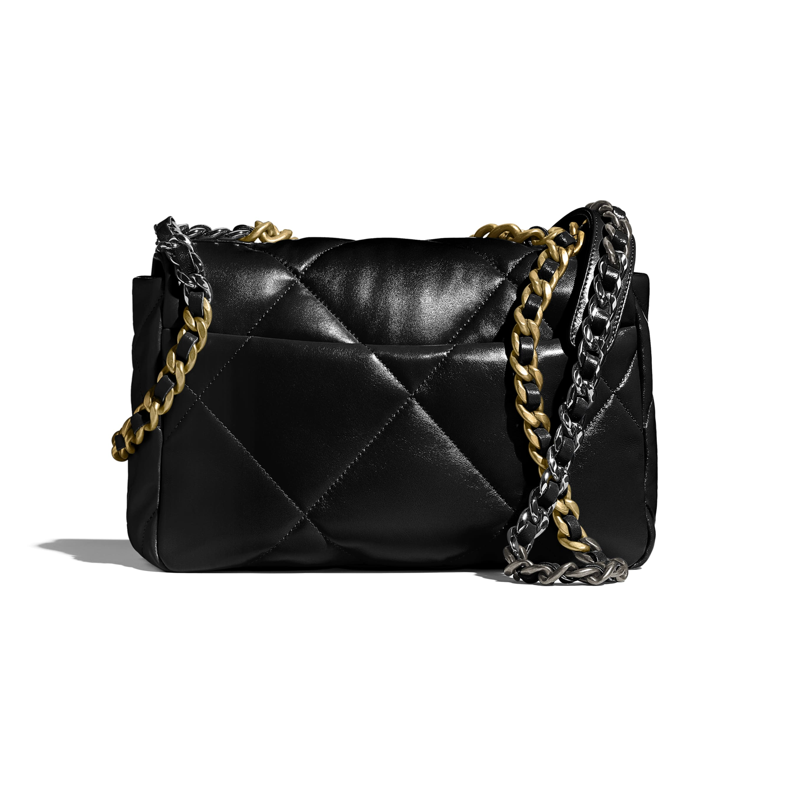 CHANEL 19 Flap Bag - Black - Lambskin, Gold-Tone, Silver-Tone & Ruthenium-Finish Metal - CHANEL - Alternative view - see standard sized version