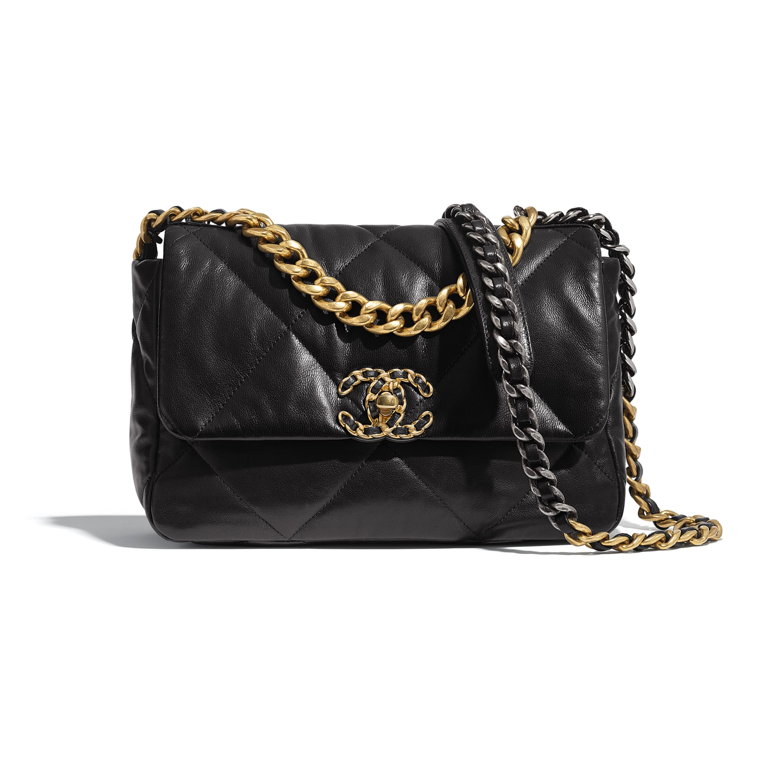 CHANEL 19 Flap Bag - Black - Lambskin, Gold-Tone, Silver-Tone & Ruthenium-Finish Metal - Default view - see standard sized version