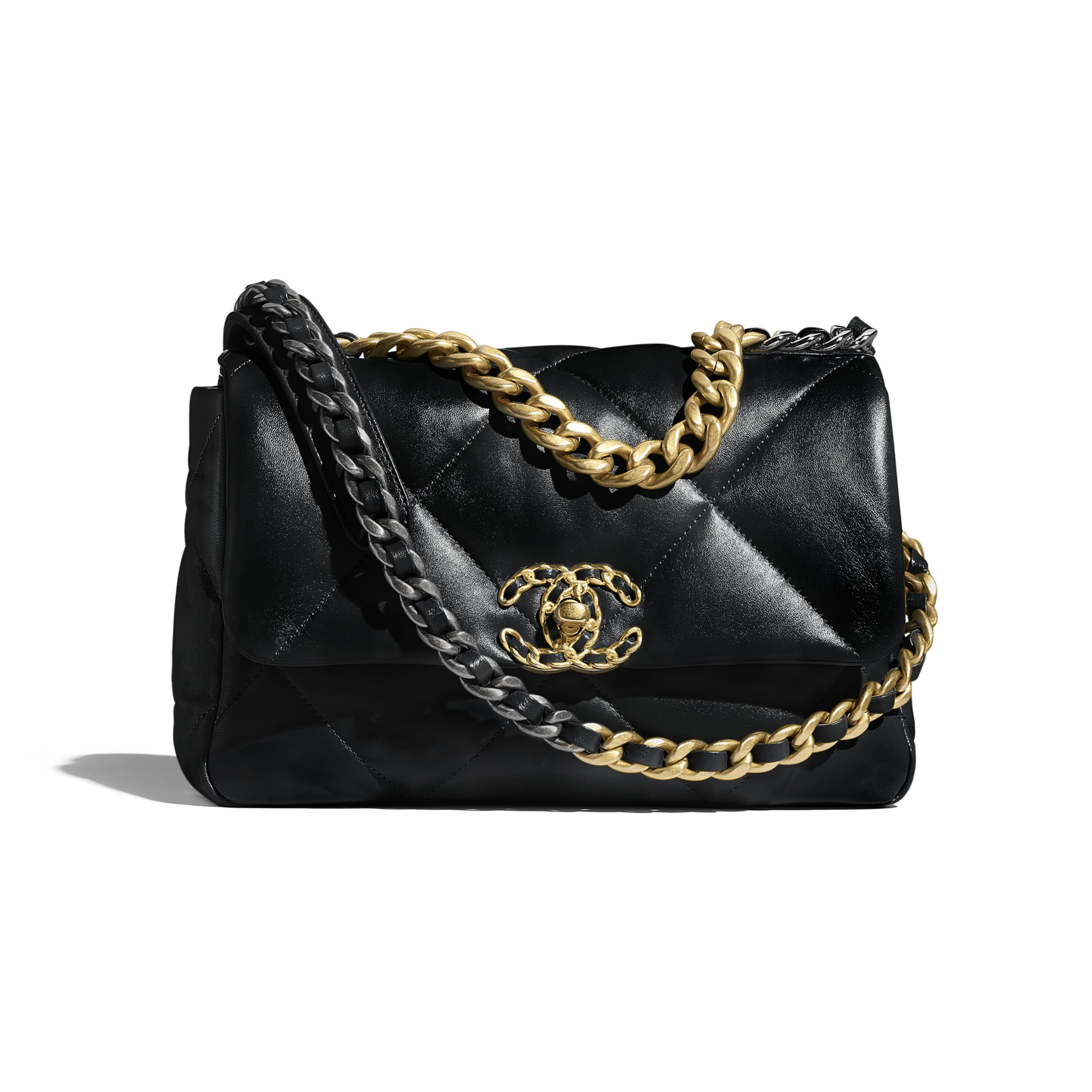 CHANEL 19 Flap Bag - Black - Lambskin, Gold-Tone, Silver-Tone & Ruthenium-Finish Metal - CHANEL - Default view - see standard sized version