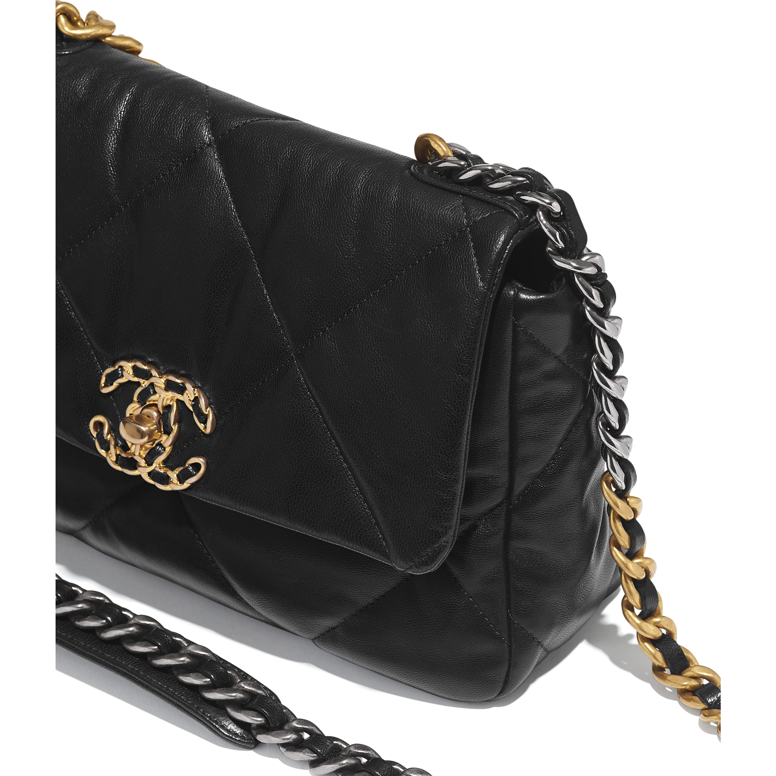 CHANEL 19 Flap Bag - Black - Lambskin, Gold-Tone, Silver-Tone & Ruthenium-Finish Metal - Extra view - see standard sized version