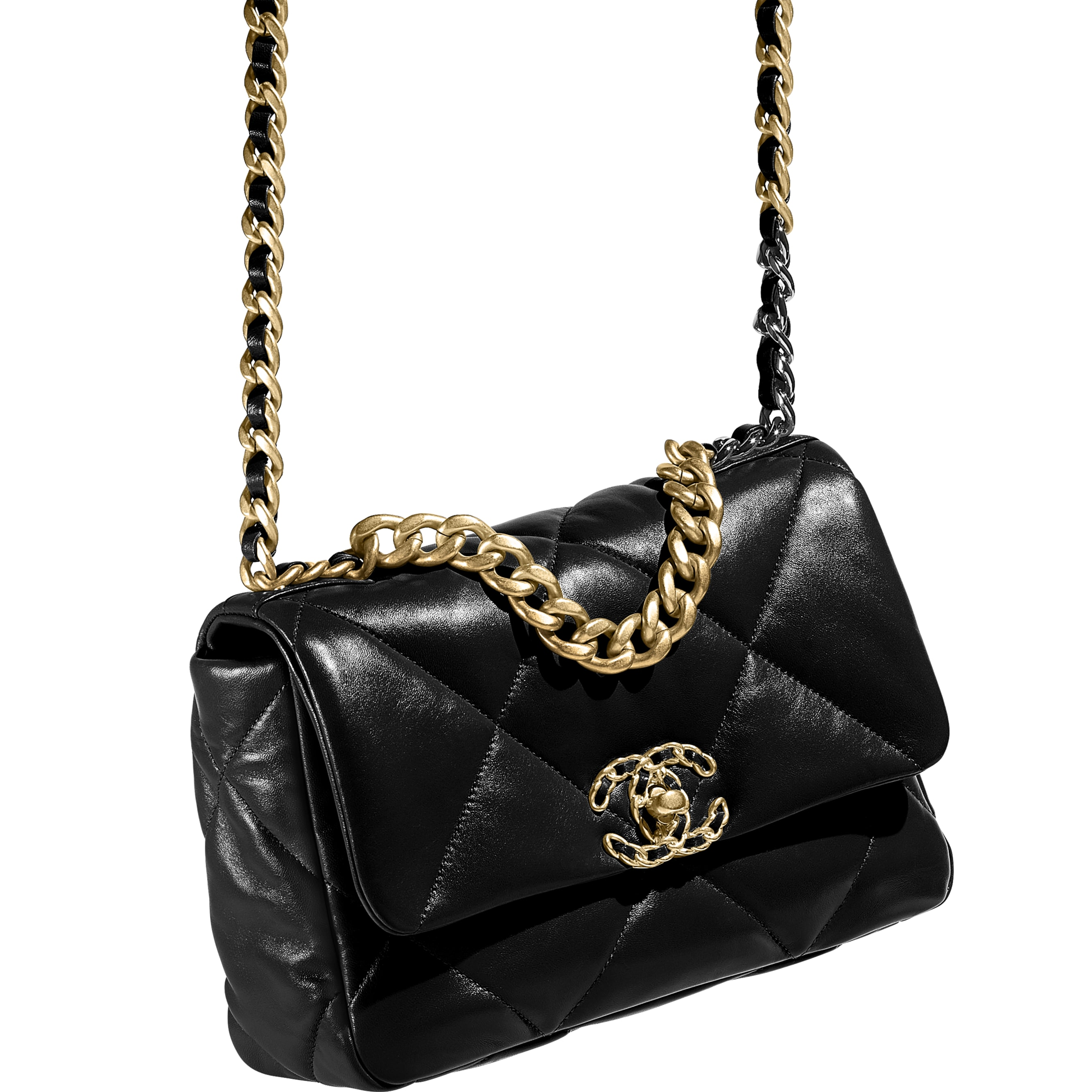 CHANEL 19 Flap Bag - Black - Lambskin, Gold-Tone, Silver-Tone & Ruthenium-Finish Metal - CHANEL - Extra view - see standard sized version