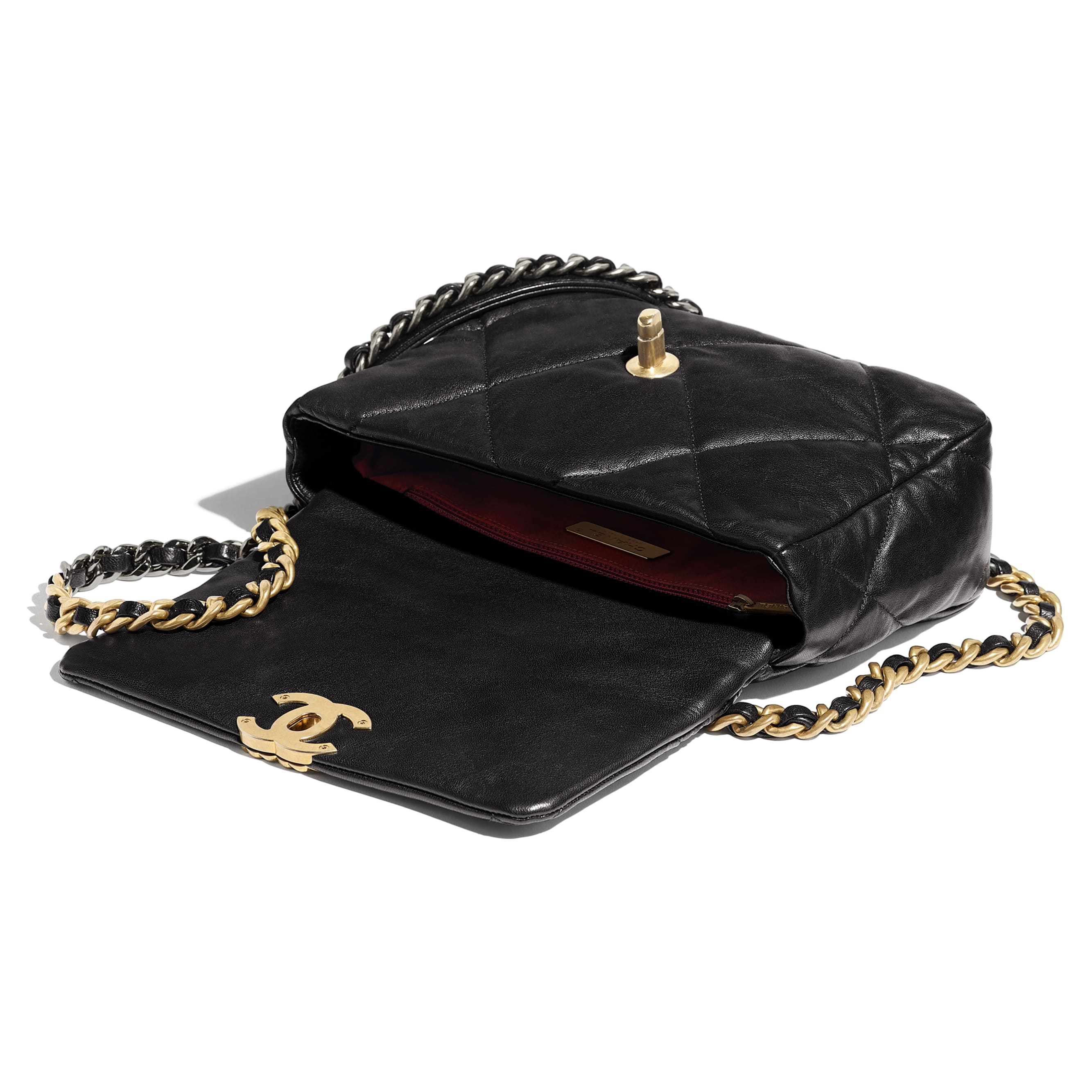 CHANEL 19 Flap Bag - Black - Lambskin, Gold-Tone, Silver-Tone & Ruthenium-Finish Metal - Other view - see standard sized version