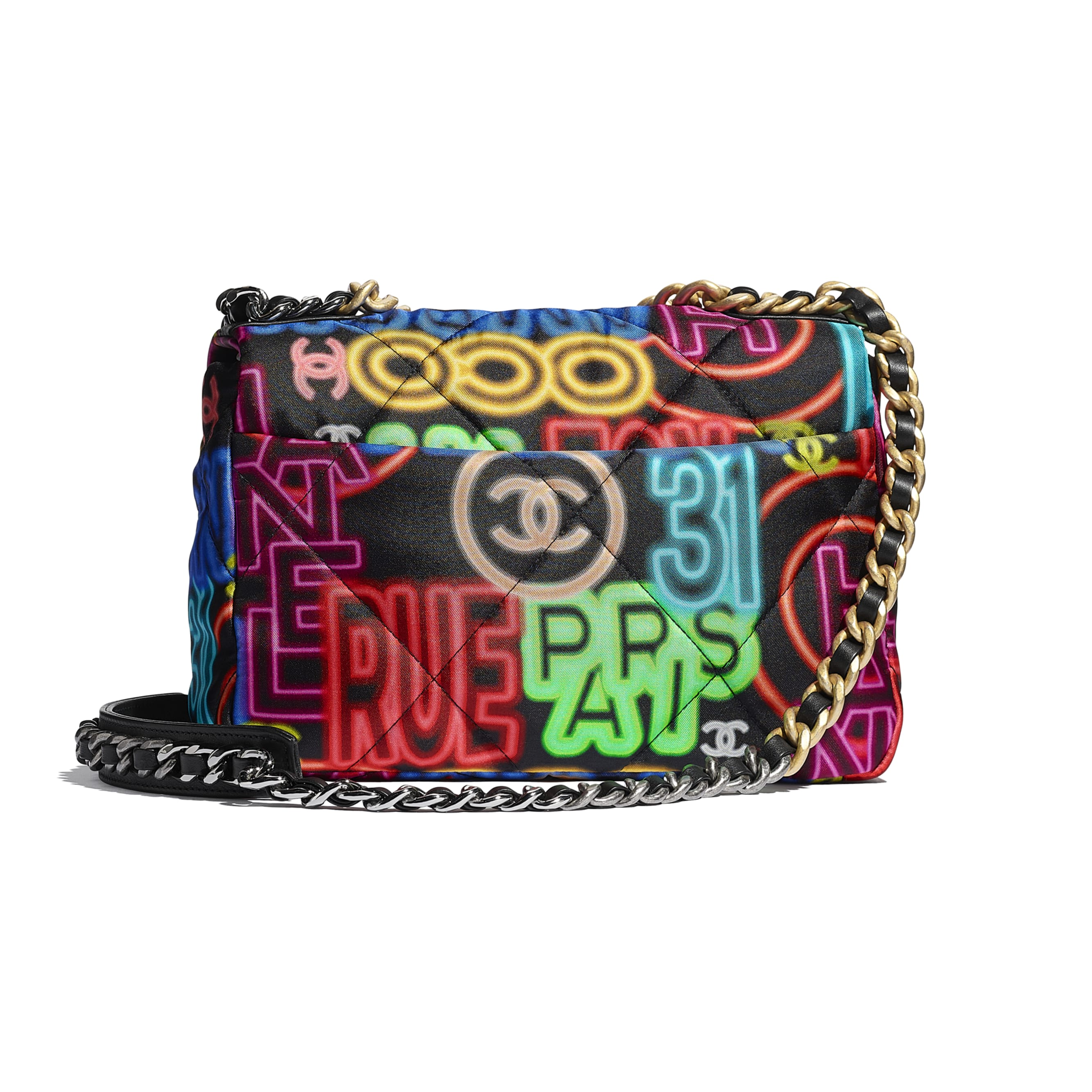 CHANEL 19 Flap Bag - Black & Multicolour - Printed Fabric, Gold-Tone, Silver-Tone & Ruthenium-Finish Metal - CHANEL - Alternative view - see standard sized version