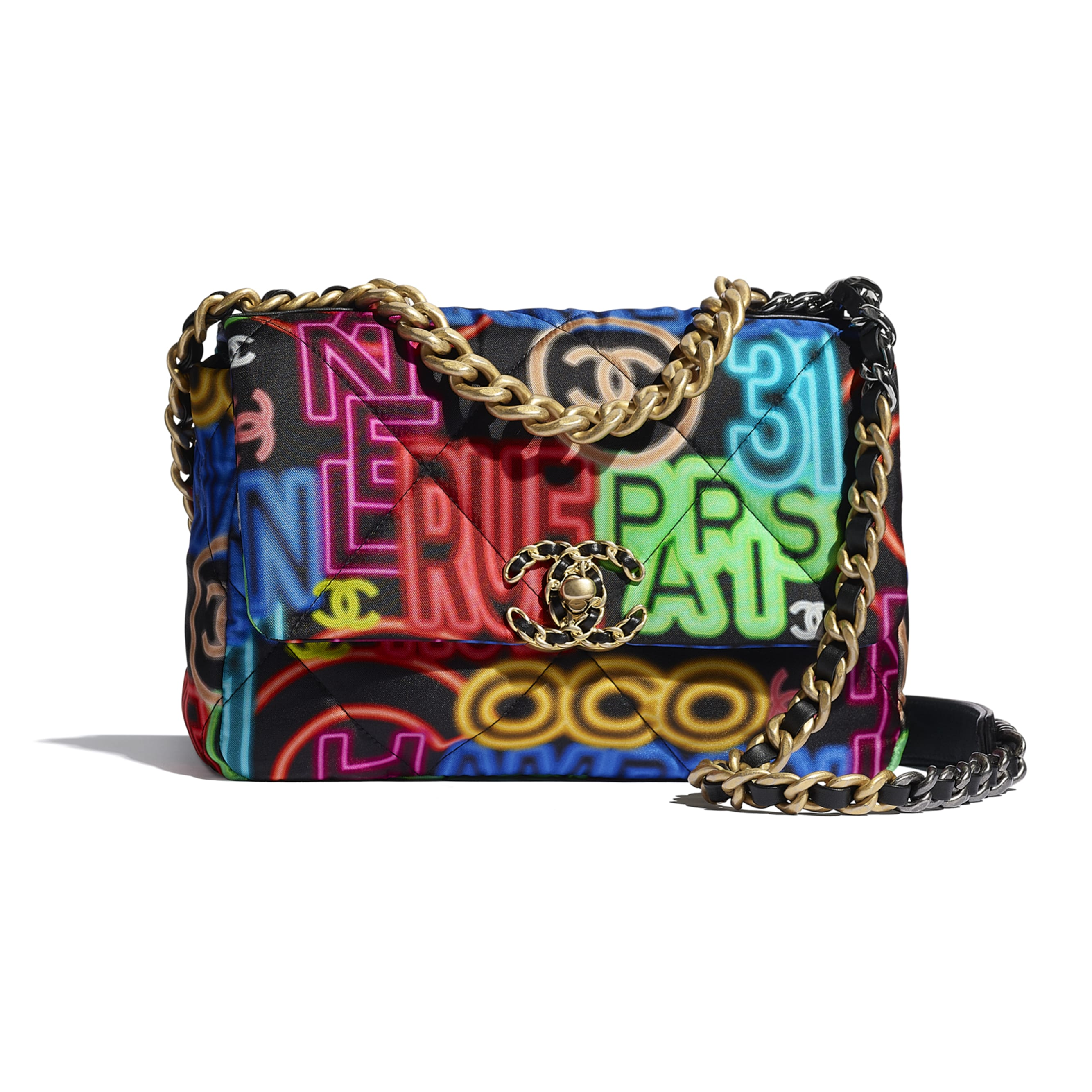 CHANEL 19 Flap Bag - Black & Multicolour - Printed Fabric, Gold-Tone, Silver-Tone & Ruthenium-Finish Metal - CHANEL - Default view - see standard sized version