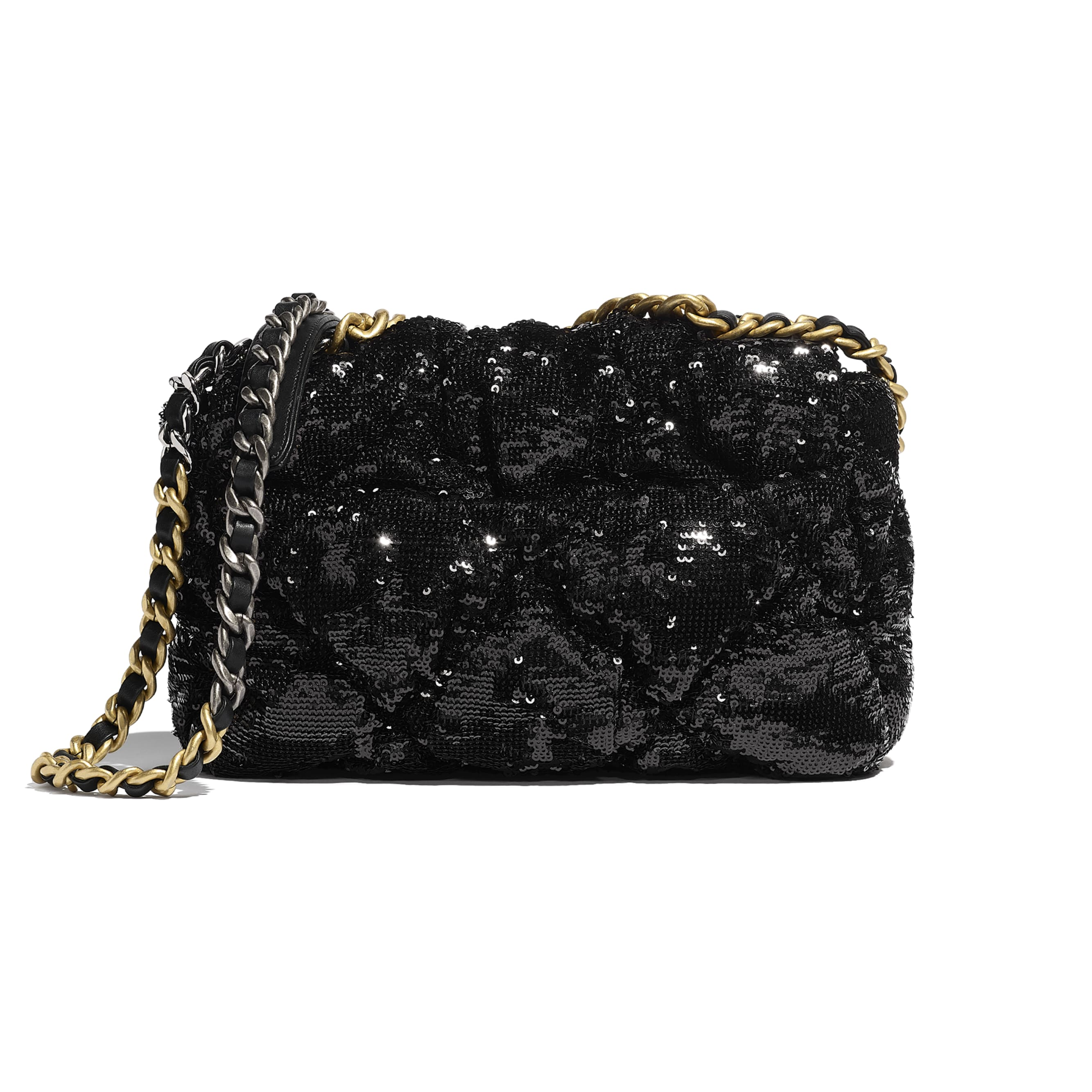 CHANEL 19 Flap Bag - Black - Sequins, Gold-Tone, Siver-Tone & Ruthenium-Finish Metal - CHANEL - Alternative view - see standard sized version