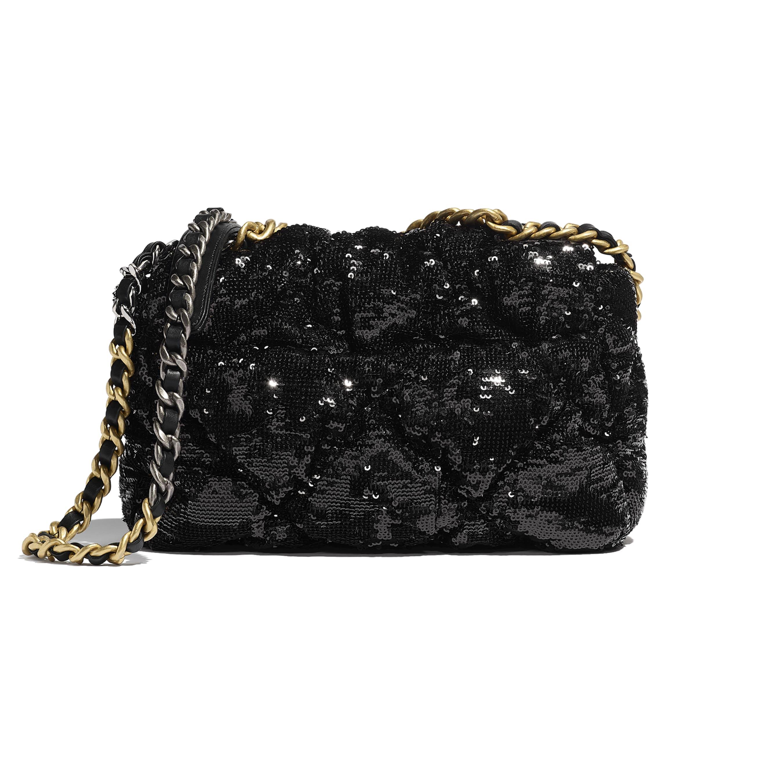 Bolsa CHANEL 19 - Black - Sequins, Gold-Tone, Siver-Tone & Ruthenium-Finish Metal - CHANEL - Vista alternativa - ver a versão em tamanho standard