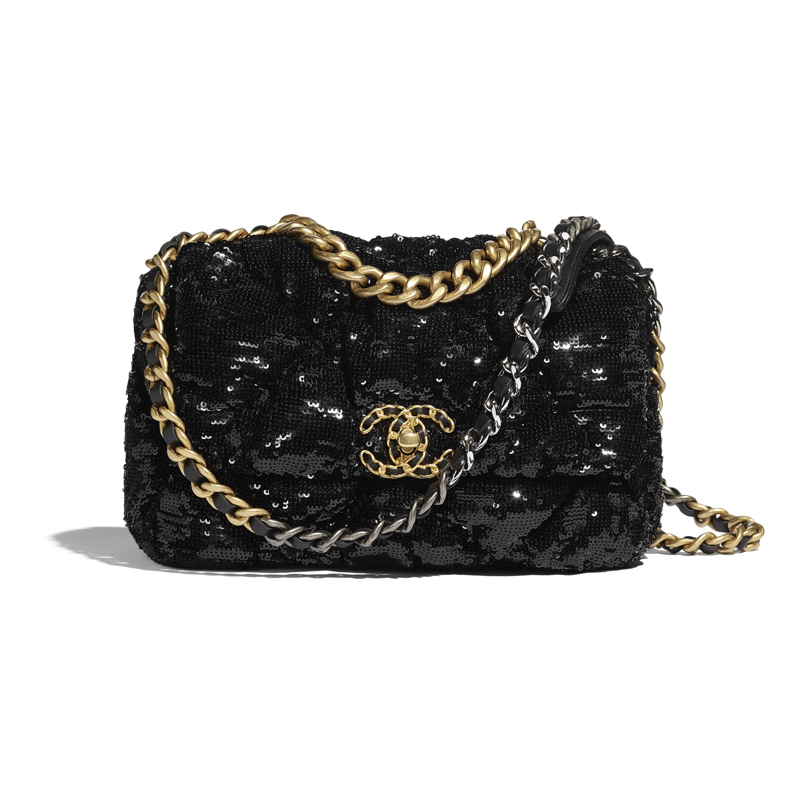 CHANEL 19 Flap Bag - Black - Sequins, Gold-Tone, Siver-Tone & Ruthenium-Finish Metal - CHANEL - Default view - see standard sized version
