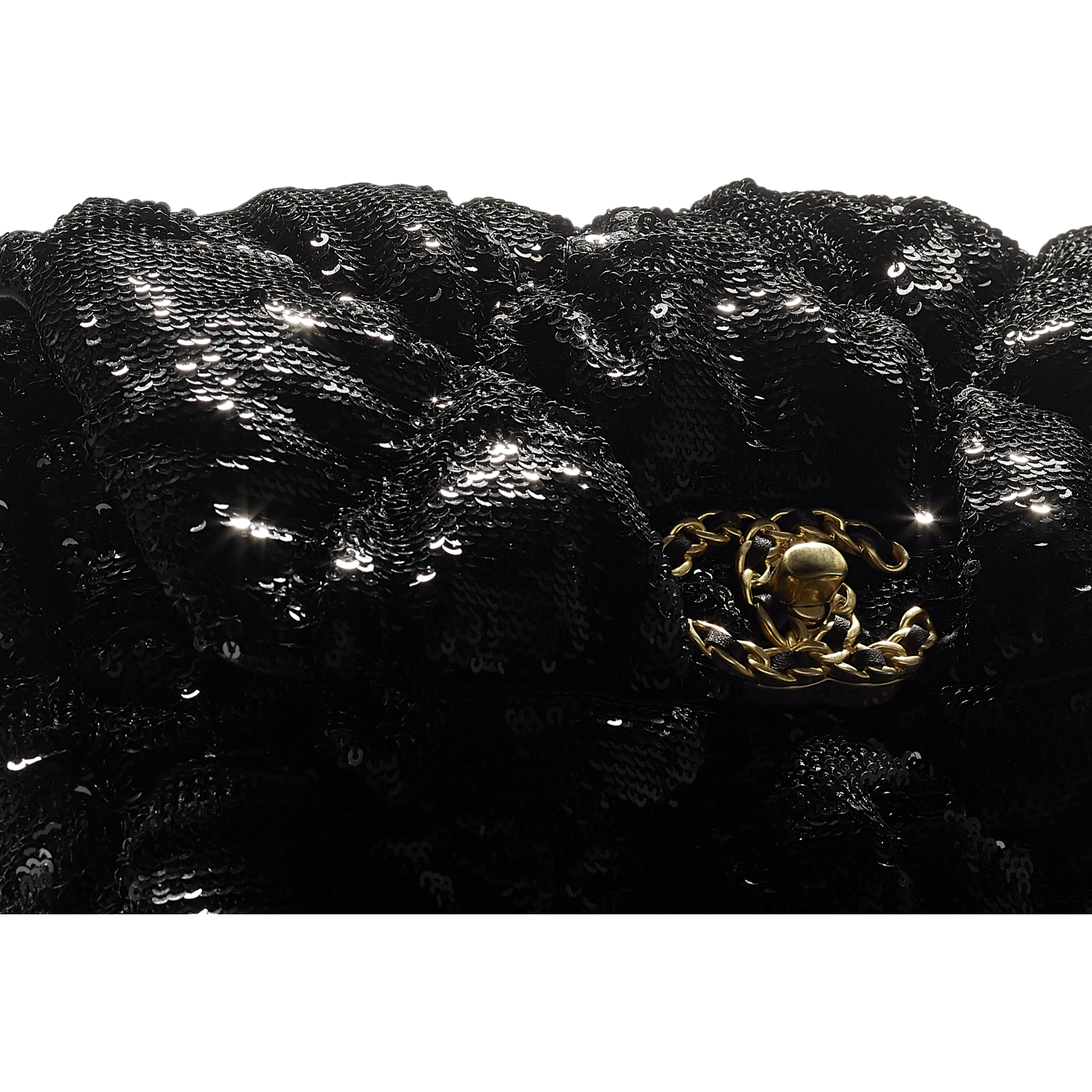 Bolsa CHANEL 19 - Black - Sequins, Gold-Tone, Siver-Tone & Ruthenium-Finish Metal - CHANEL - Vista extra - ver a versão em tamanho standard