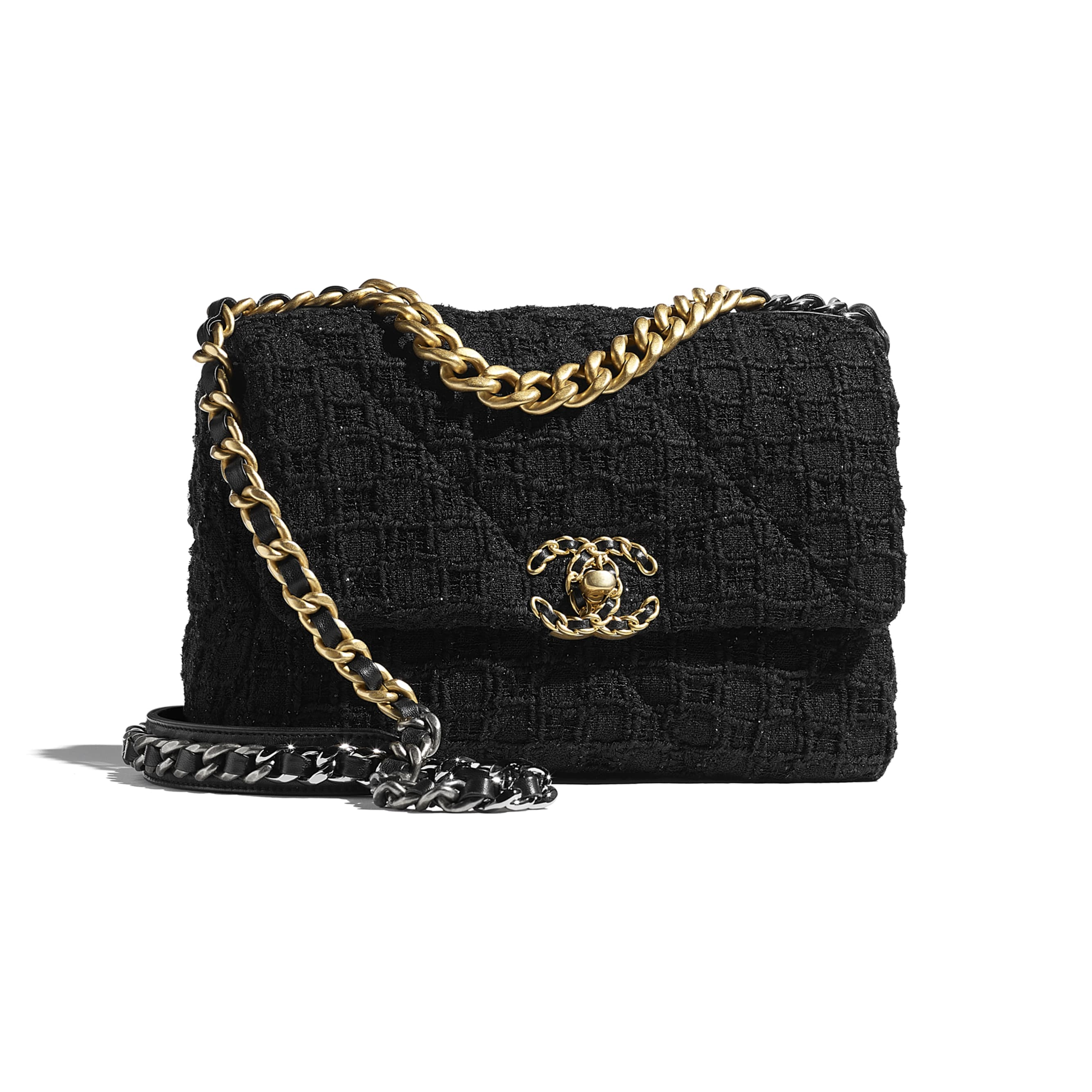 CHANEL 19 Flap Bag - Black - Tweed, Gold-Tone, Silver-Tone & Ruthenium-Finish Metal - CHANEL - Default view - see standard sized version