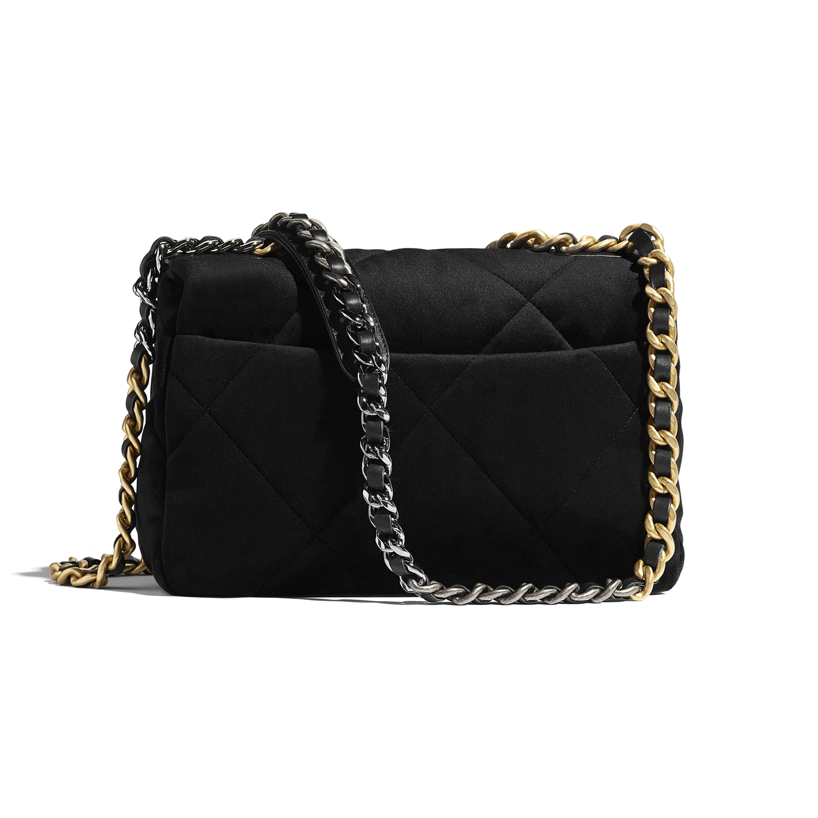 CHANEL 19 Flap Bag - Black - Velvet, Black & Gold-Tone Metal - CHANEL - Alternative view - see standard sized version