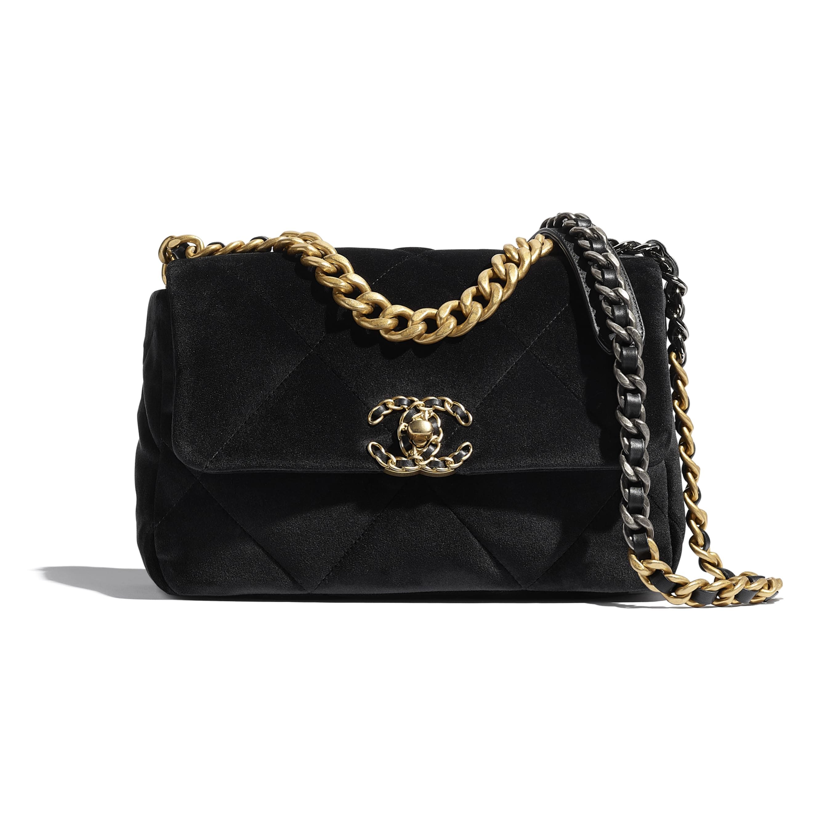 CHANEL 19 Flap Bag - Black - Velvet, Black & Gold-Tone Metal - CHANEL - Default view - see standard sized version